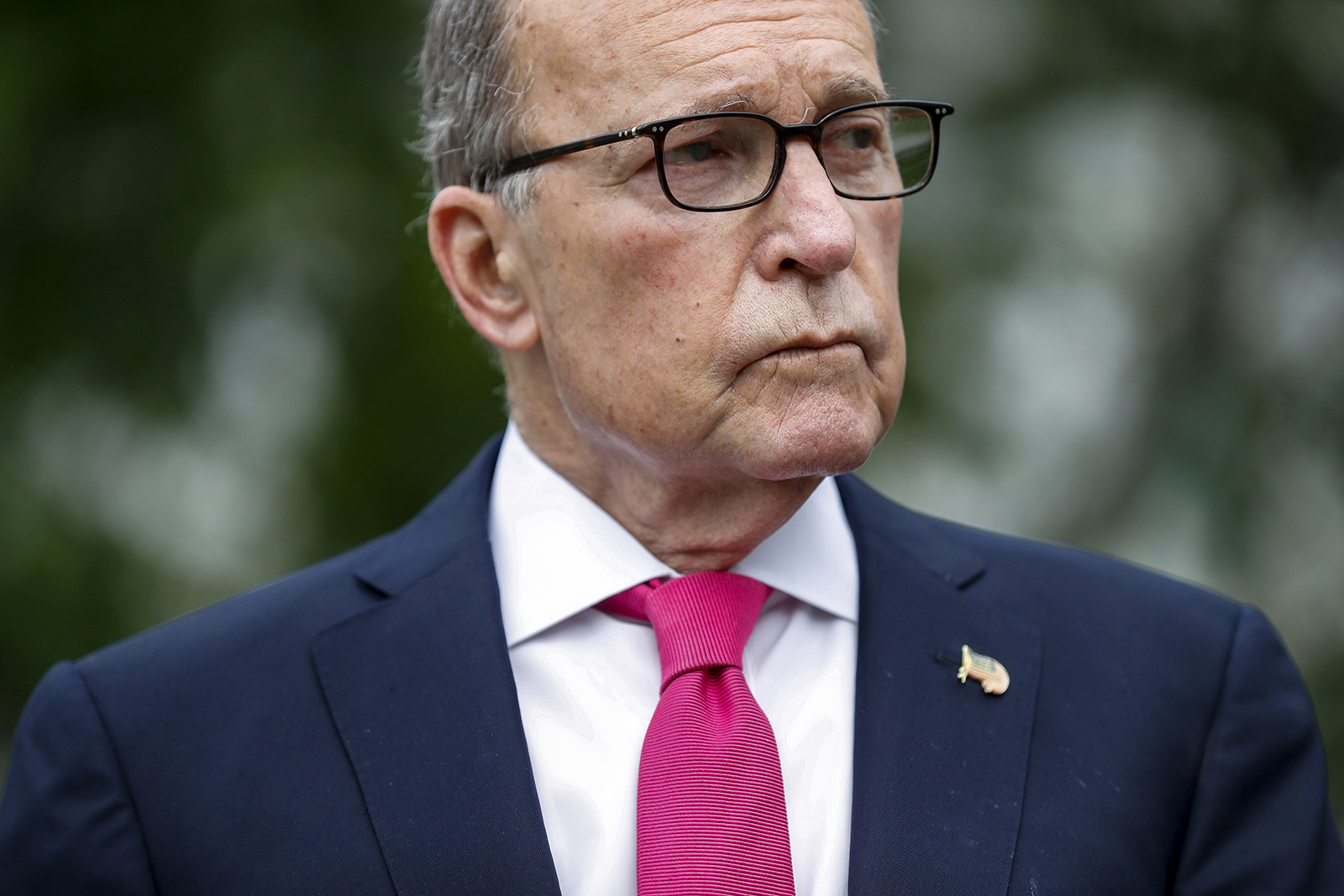 National Economic Council DirectorLarry Kudlowpauses while speaking to members of the media in Washington, on May 8.
