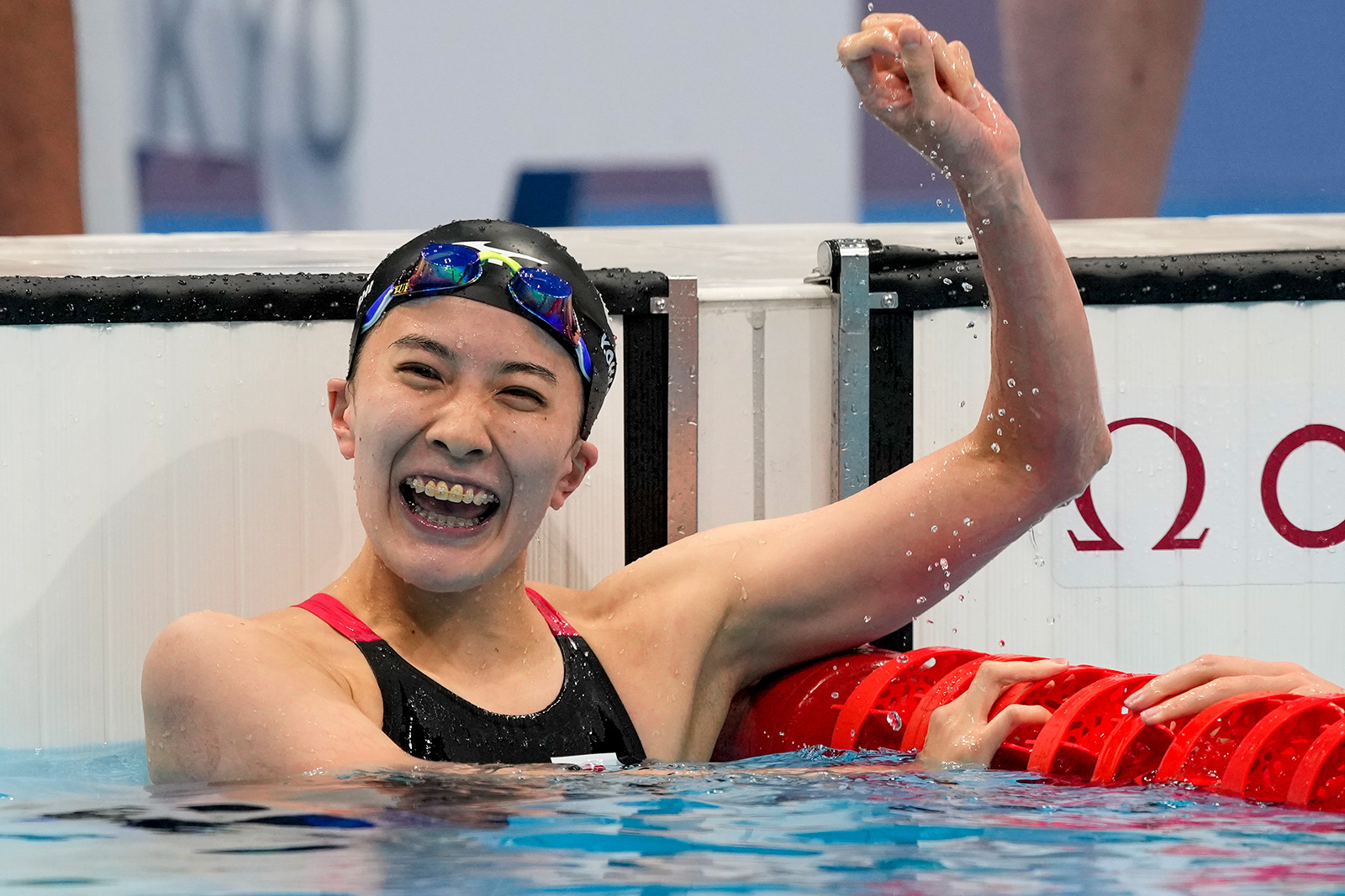 Yui Ohashi, of Japan, reacts after winning the 200-meter individual medley on July 28.