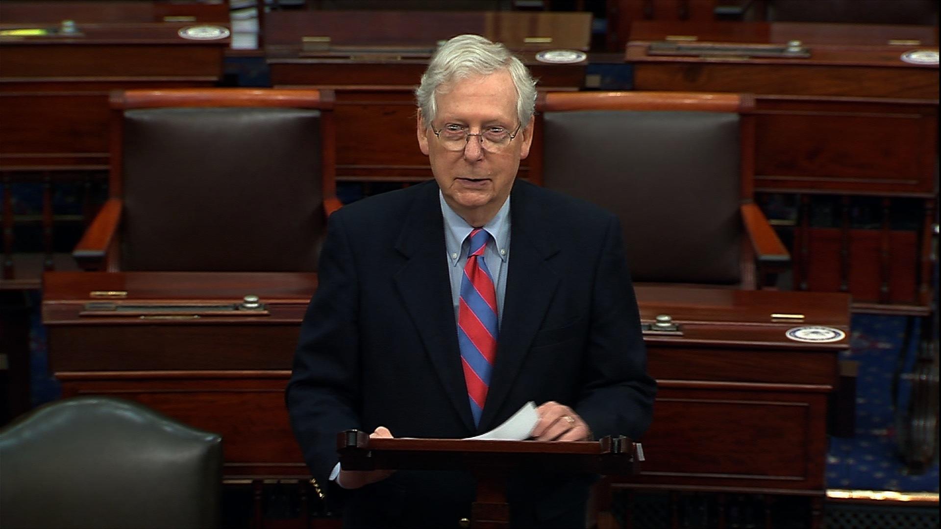 Senate Majority Leader Mitch McConnell speaks on the Senate floor in Washington, DC, on November 30.