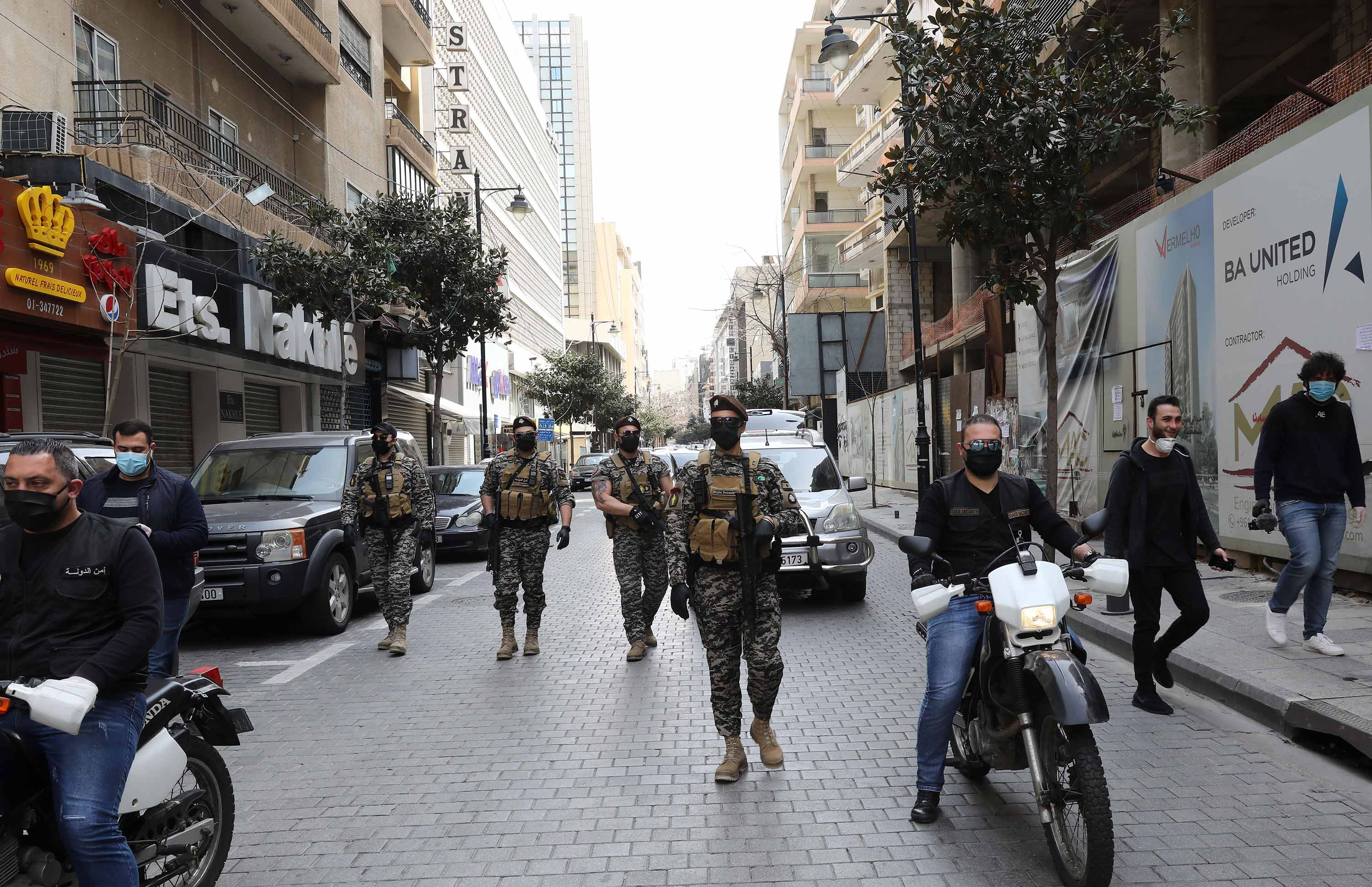 Lebanese state security patrol the capital, Beirut, during a lockdown on March 25.