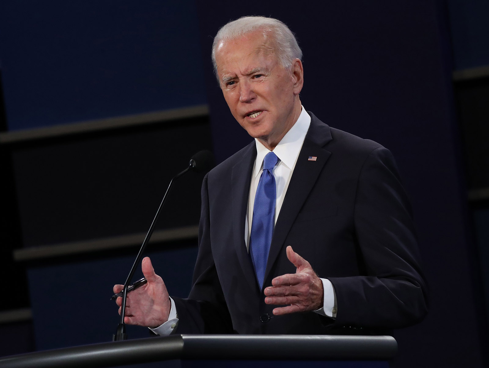 Democratic presidential nominee Joe Biden participates in the final presidential debate against President Donald Trump at Belmont University on October 22 in Nashville.
