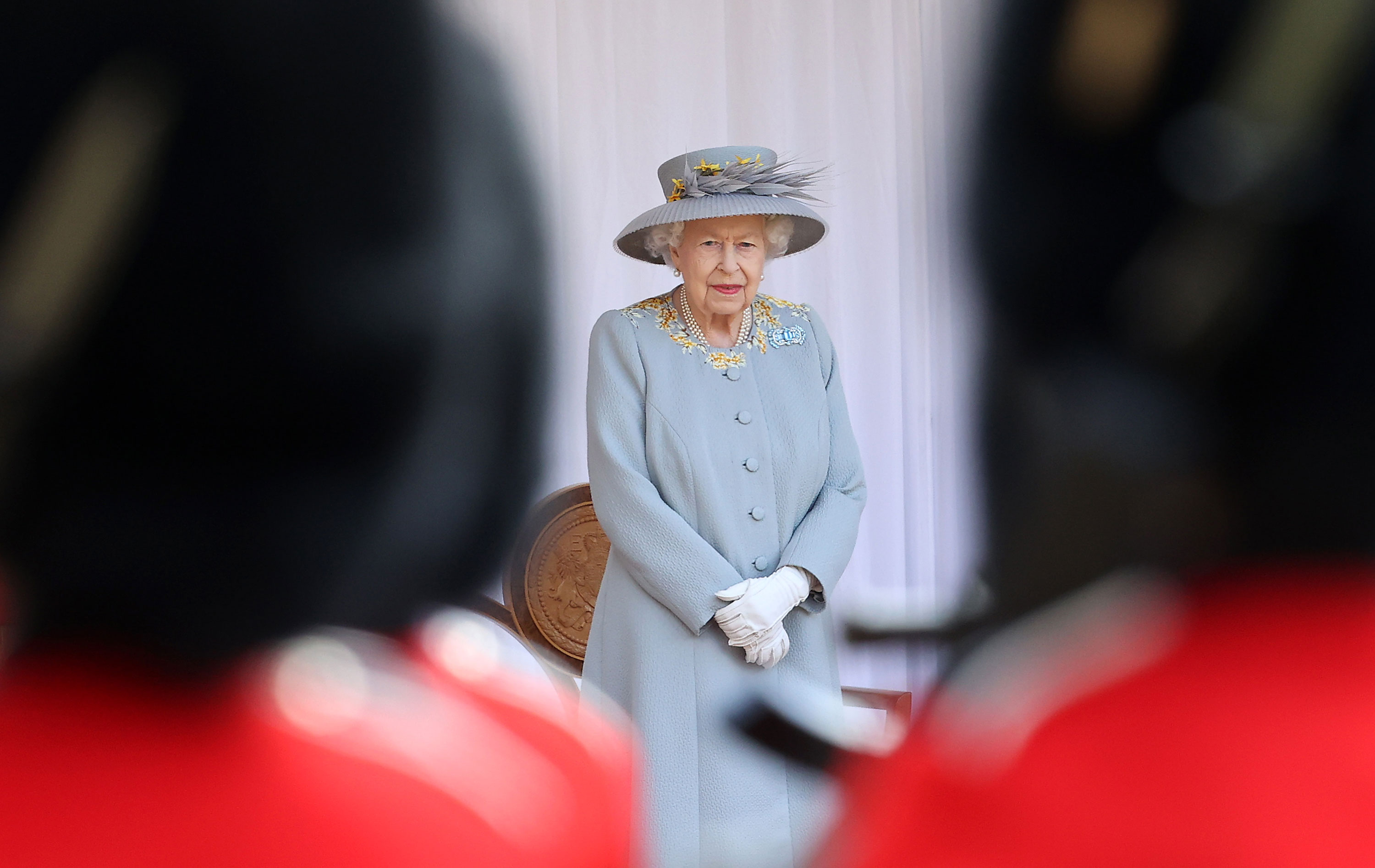 Queen Elizabeth II attends a military ceremony at Windsor Castle in England on June 12.