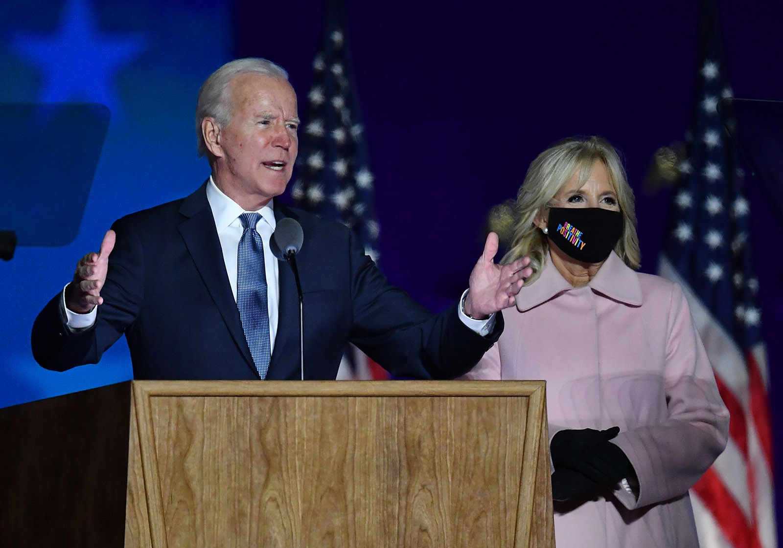 Democratic presidential nominee Joe Biden along with his wife Jill Biden speaks during election night at the Chase Center in Wilmington, Delaware, early on November 4.