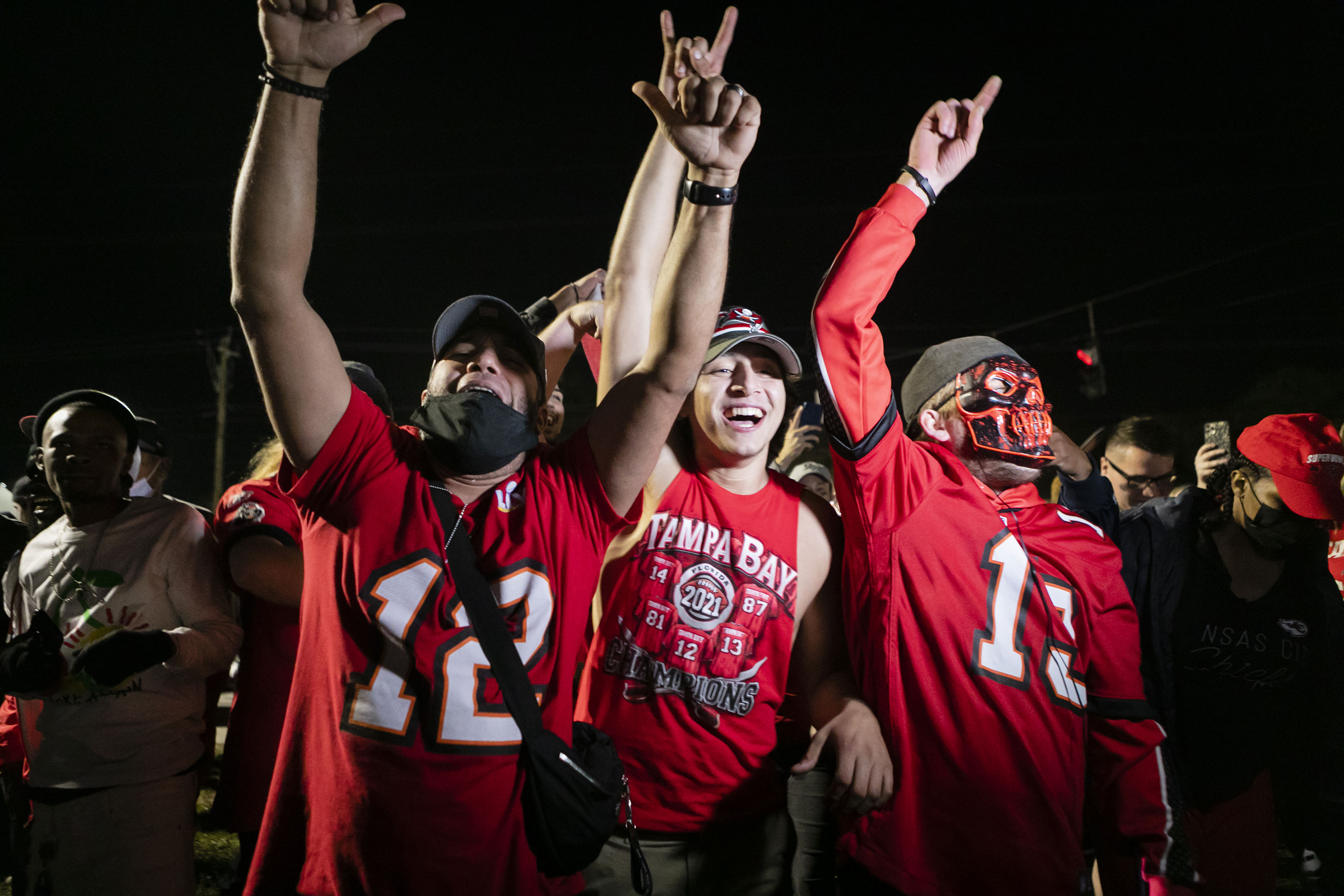 Tampa Bay Buccaneers fans celebrate the Super Bowl victory outside Raymond James Stadium in Tampa, Florida, on February 7.