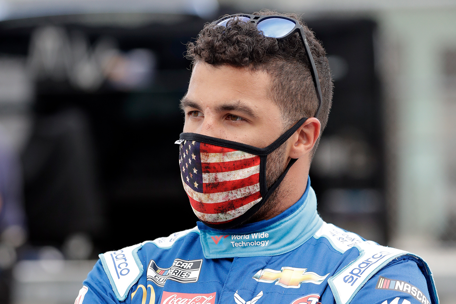 Bubba Wallace waits for the start of a NASCAR Cup Series auto race in Homestead, Florida on June 14.