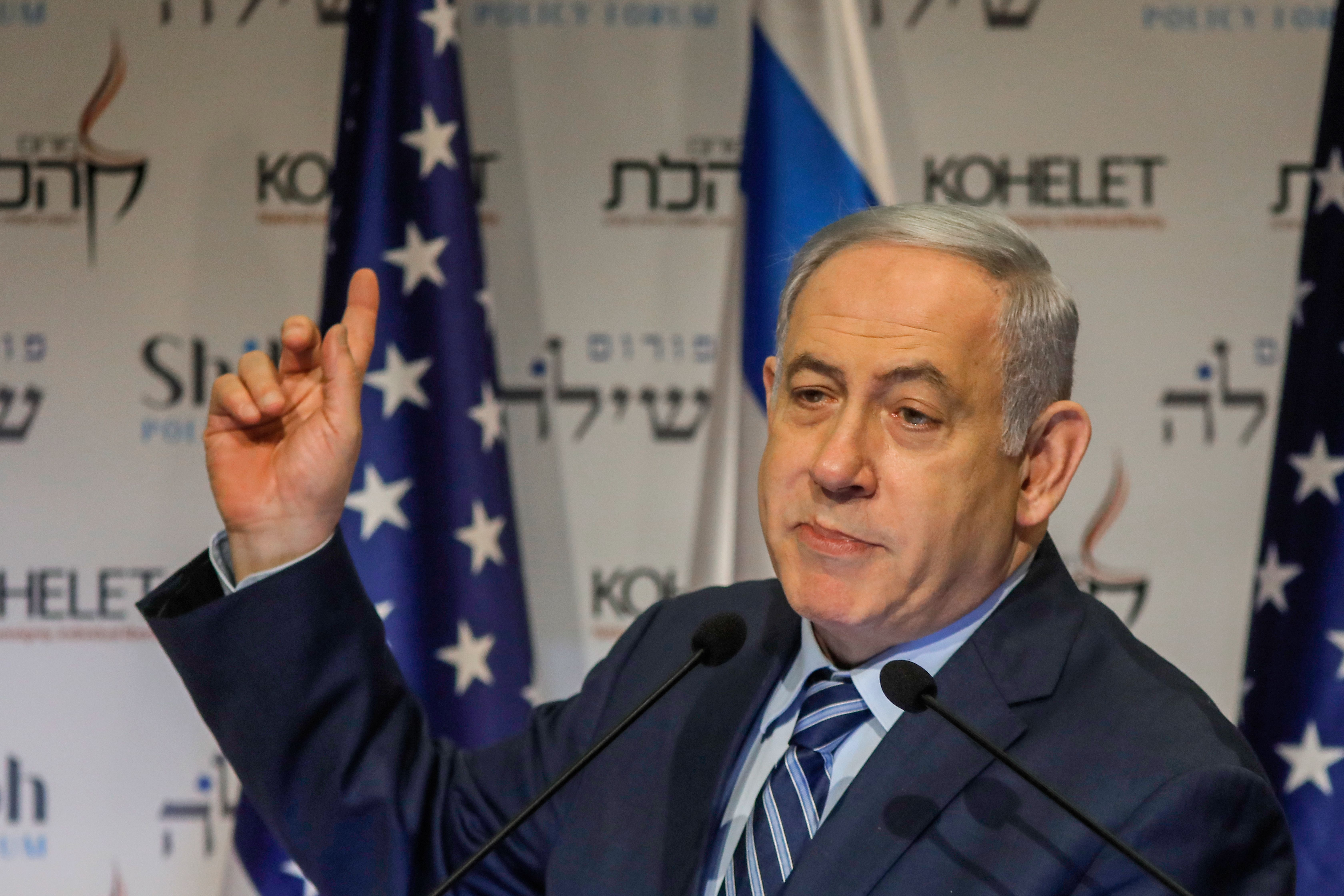 "Netanyahu said Israel was standing ""completely besides the United States."""