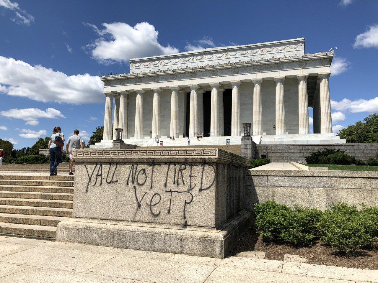 Graffiti at the Lincoln Memorial in Washington on May 31.