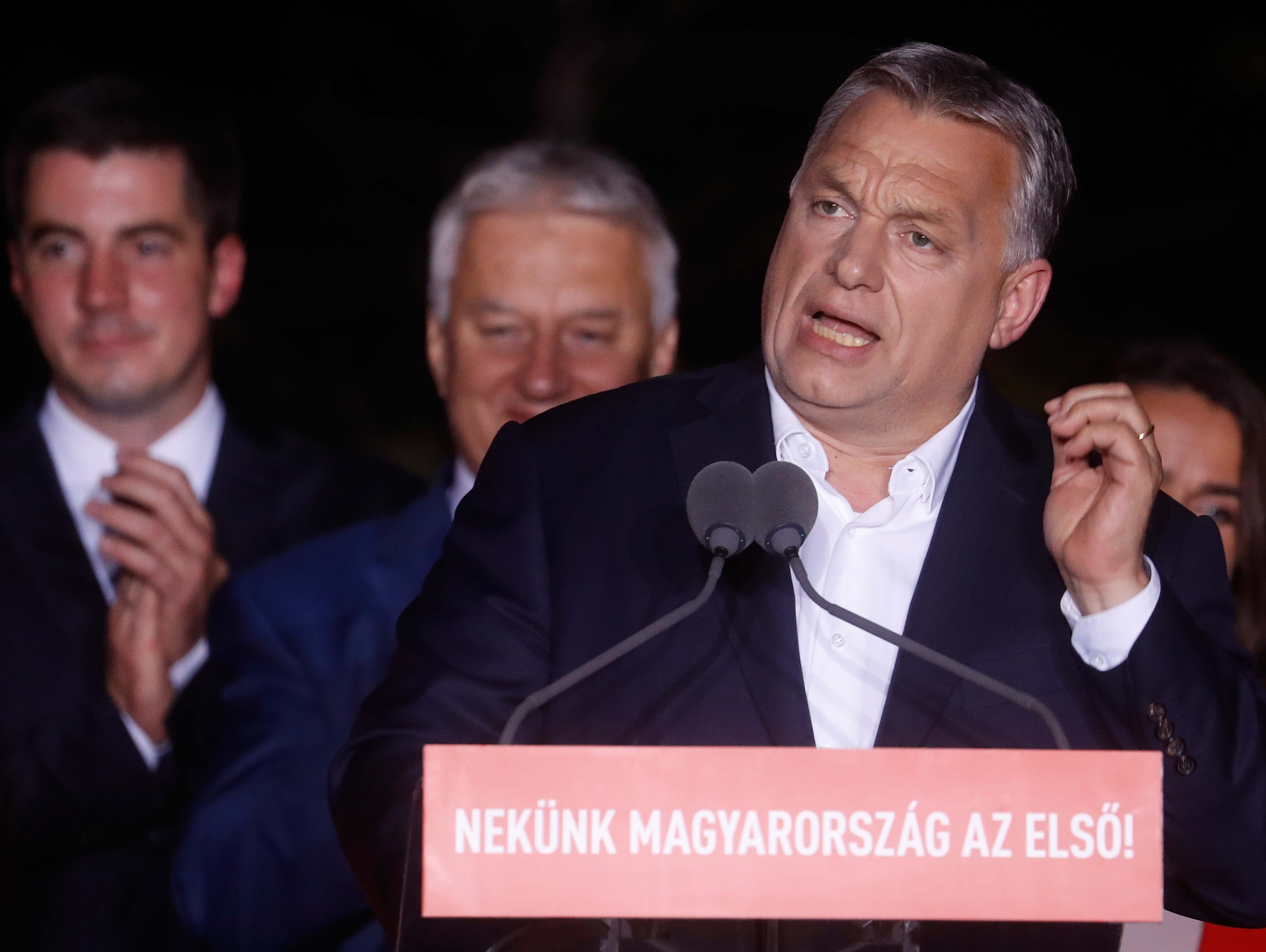 Hungarian Prime Minister Viktor Orban addresses supporters on May 26.