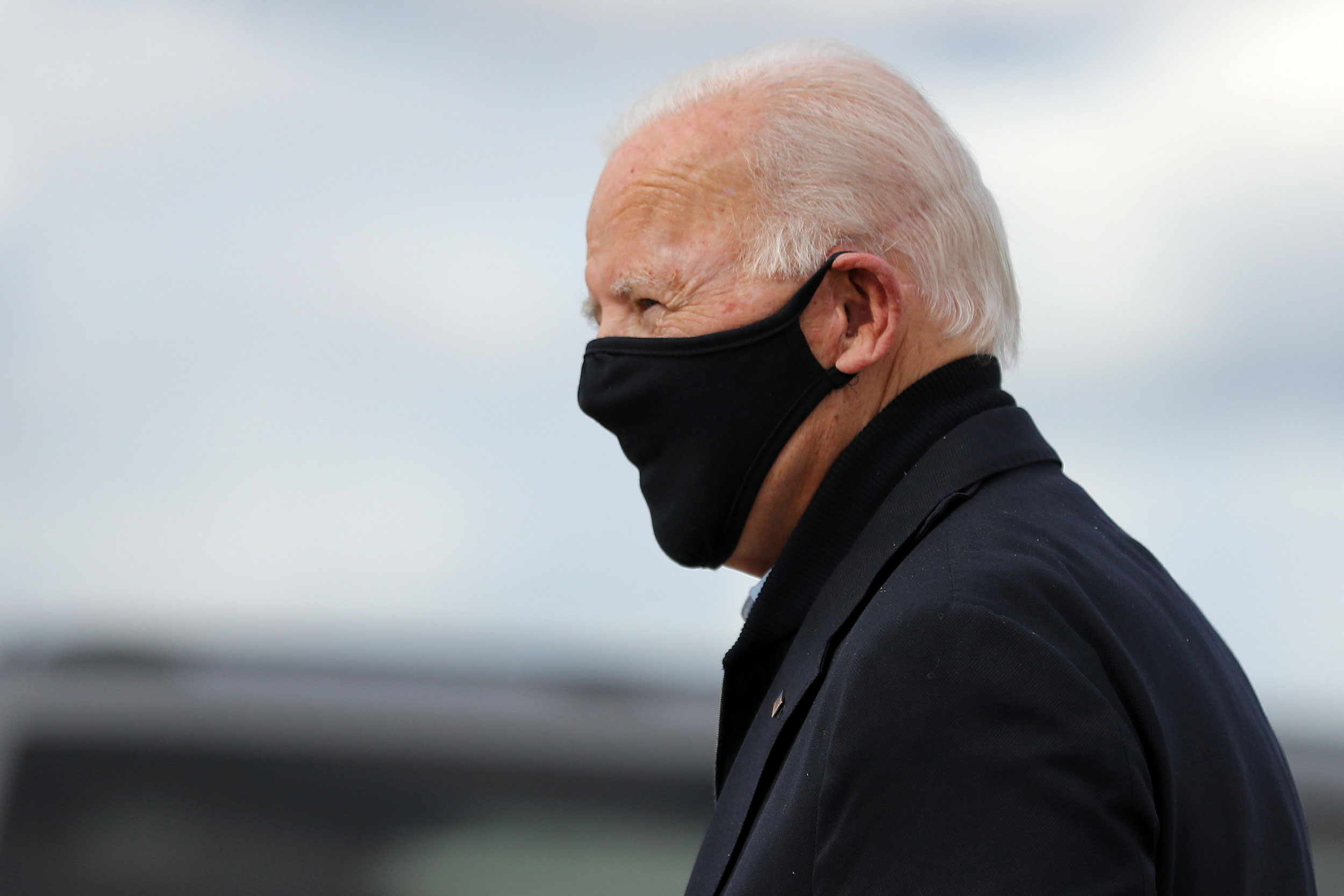 Joe Biden arrives in Grand Rapids, Michigan, on October 2.