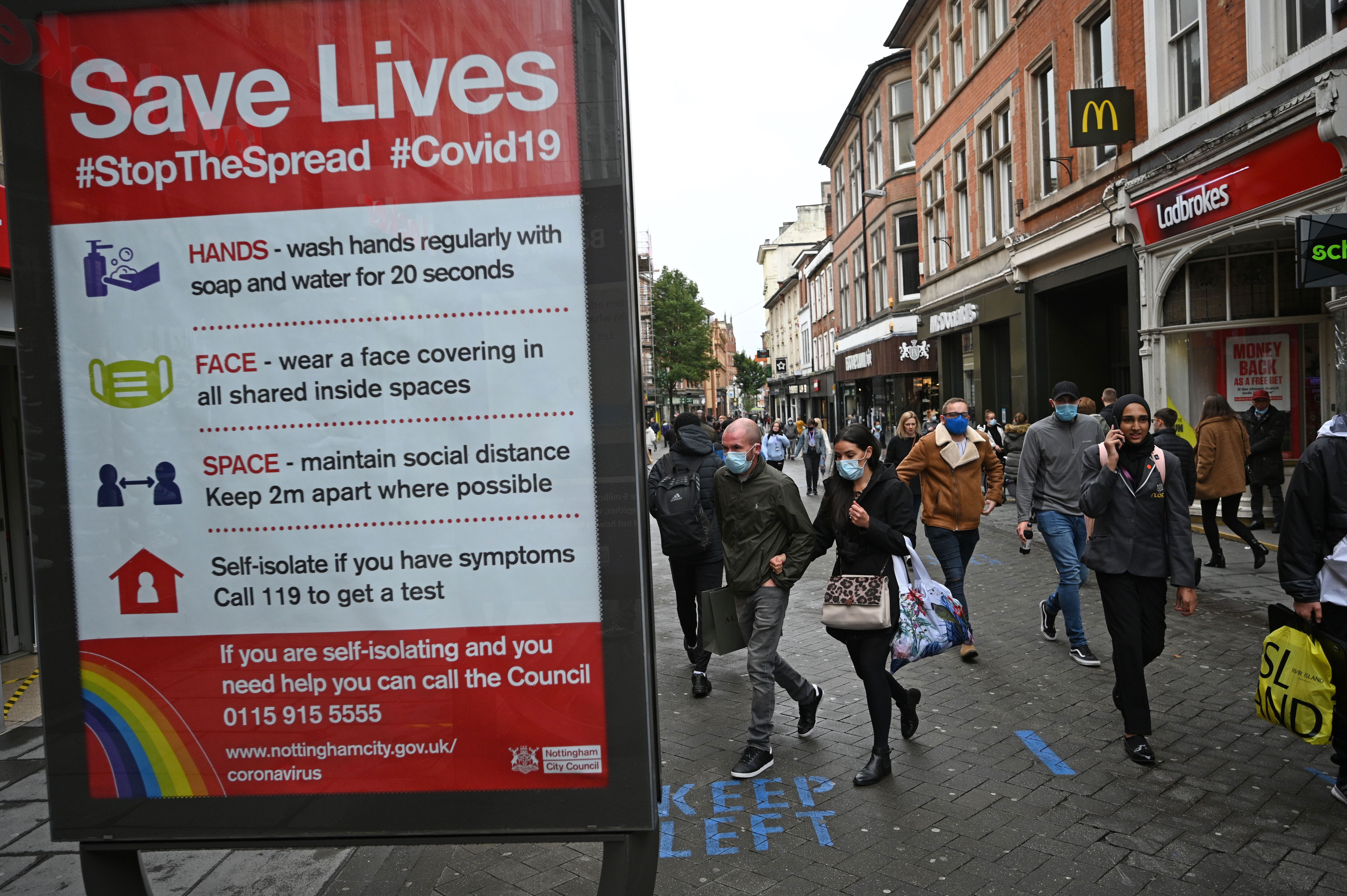 A board displays information about Covid-19 in Nottingham, England, on October 9.
