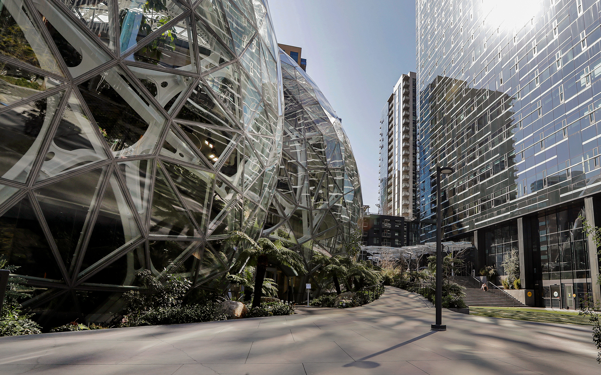 The Amazon campus outside the company headquarters in Seattle sits nearly deserted due to the coronavirus pandemic in March 2020.