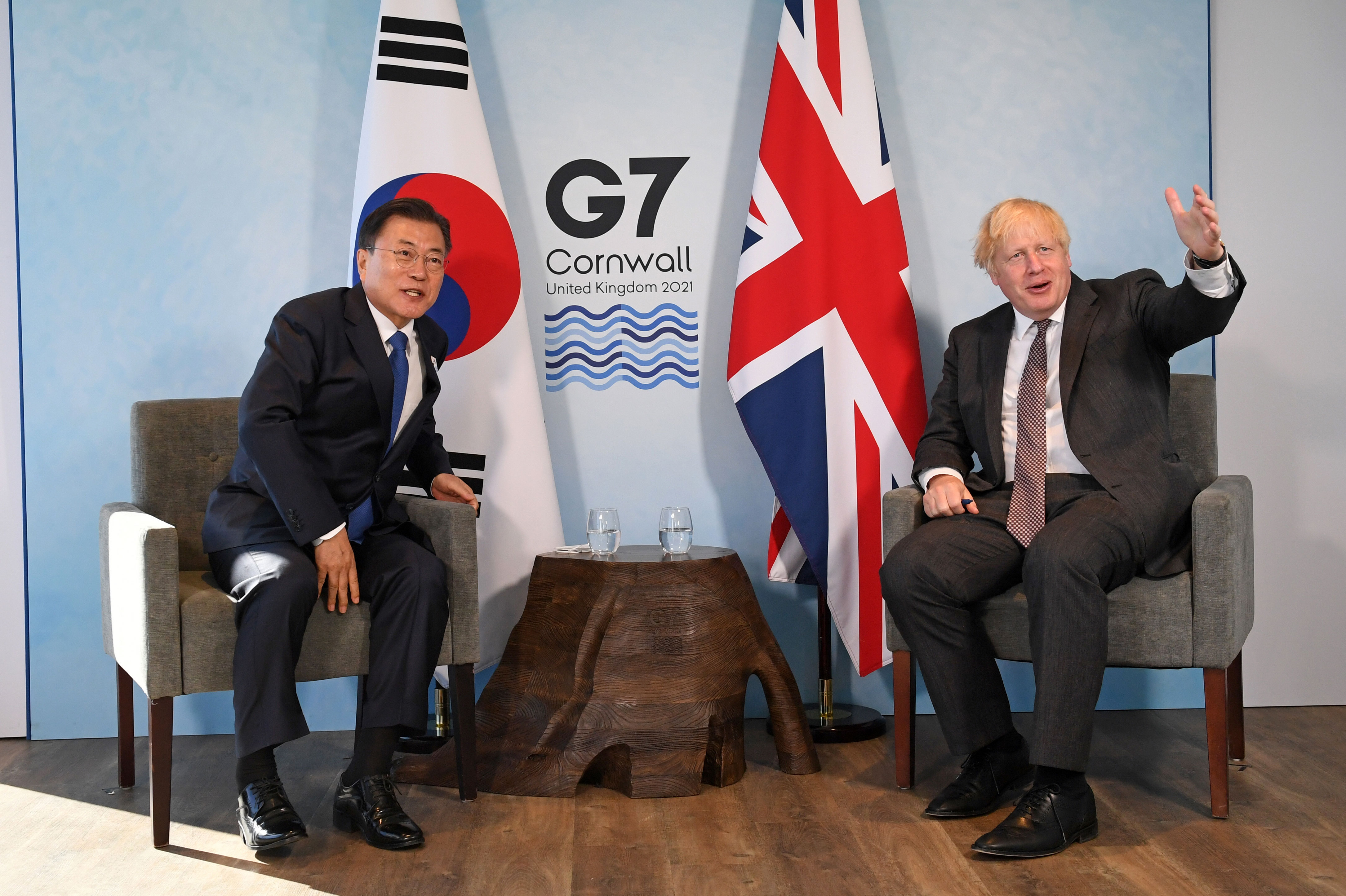 South Korea's President Moon Jae-in meets with UK Prime Minister Boris Johnson in Carbis Bay, England, on June 13.