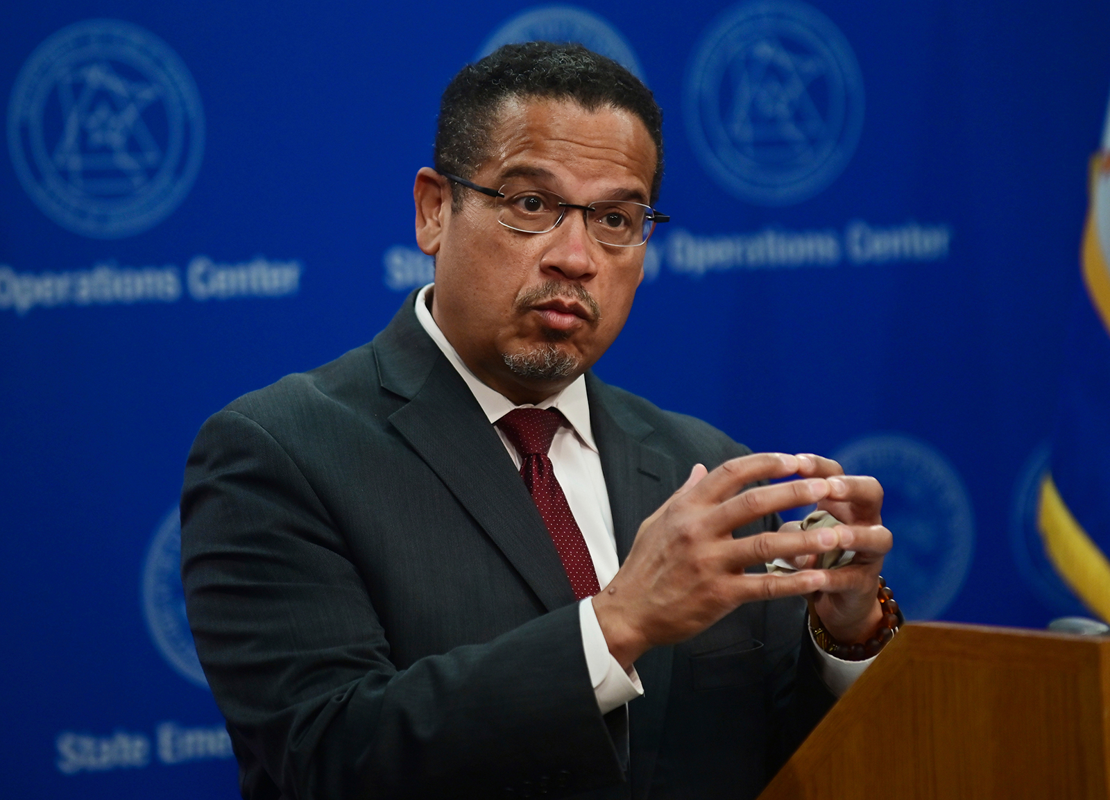 Minnesota Attorney General Keith Ellison answers questions about the investigation into the death of George Floyd in St. Paul, Minnesota, on May 27.