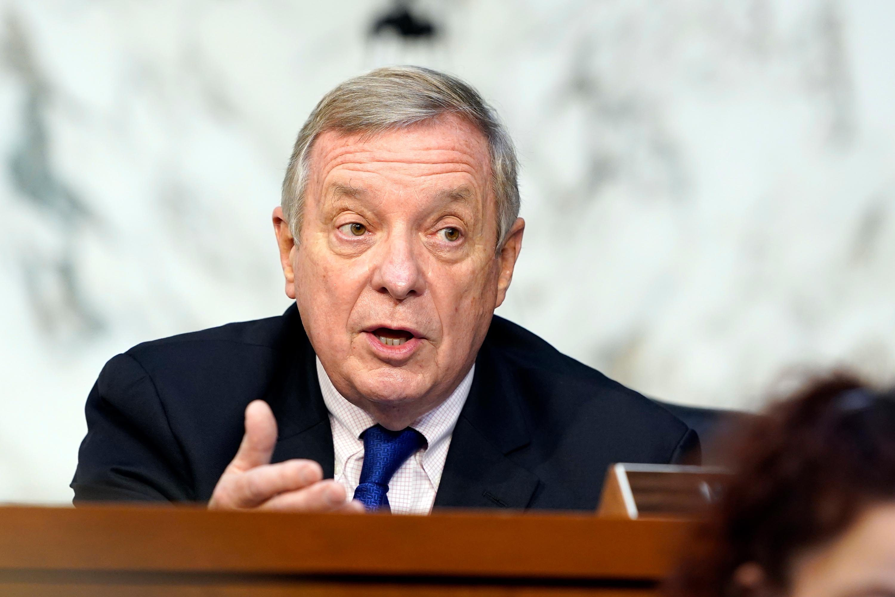 Sen. Dick Durbin speaks before the Senate Judiciary Committee on the fourth day of hearings on Supreme Court nominee Amy Coney Barrett, Thursday, October 15.