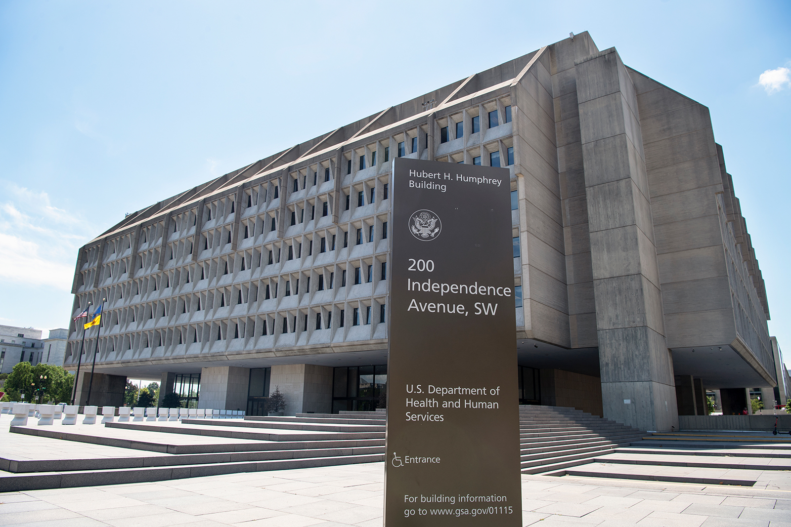 A general view of US Health and Human Services Department headquarters in Washington, D.C.