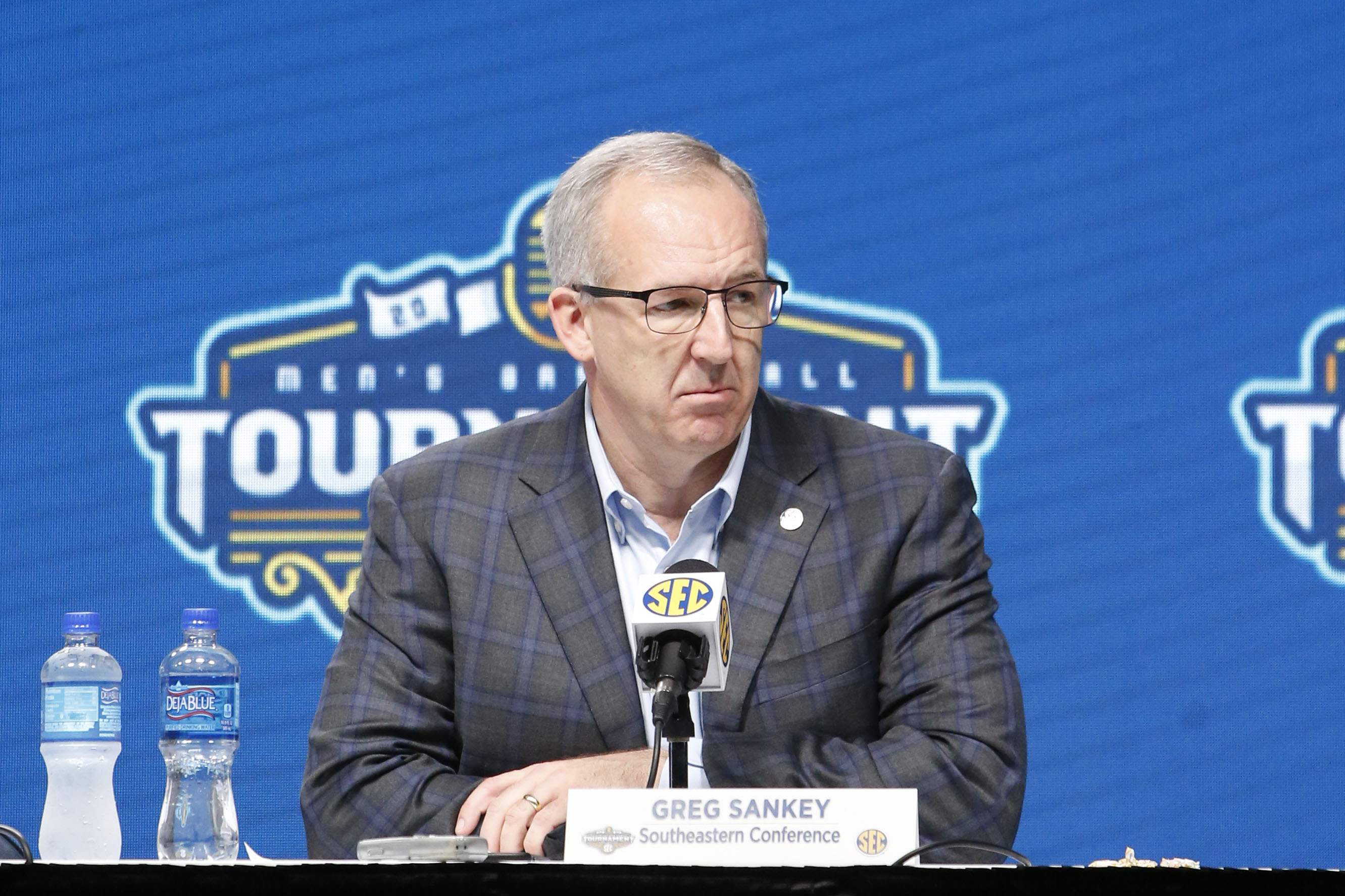 Southeastern Conference commissioner Greg Sankey attends a press conference in Nashville on March 12.