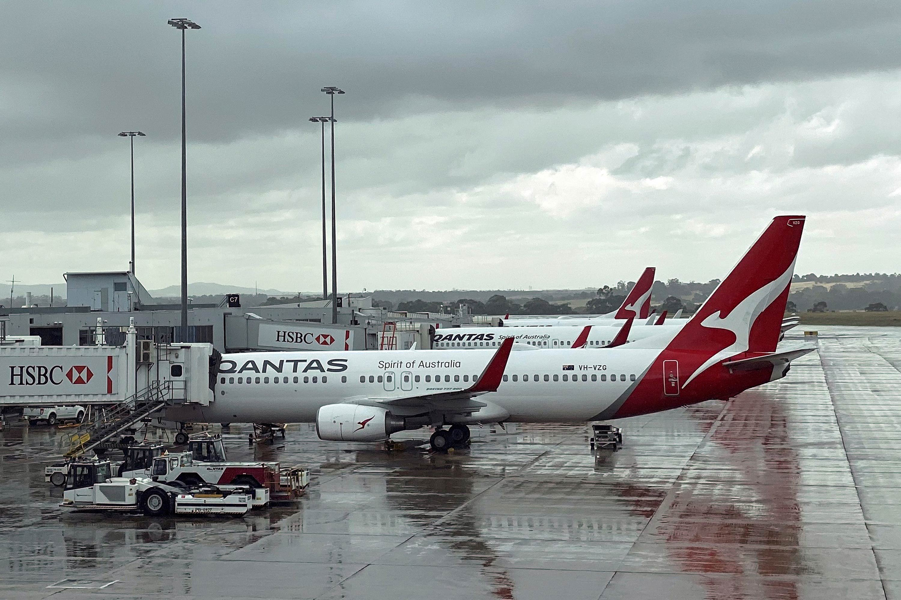 Qantas planes sit lined up at Melbourne's International Airport on February 22.