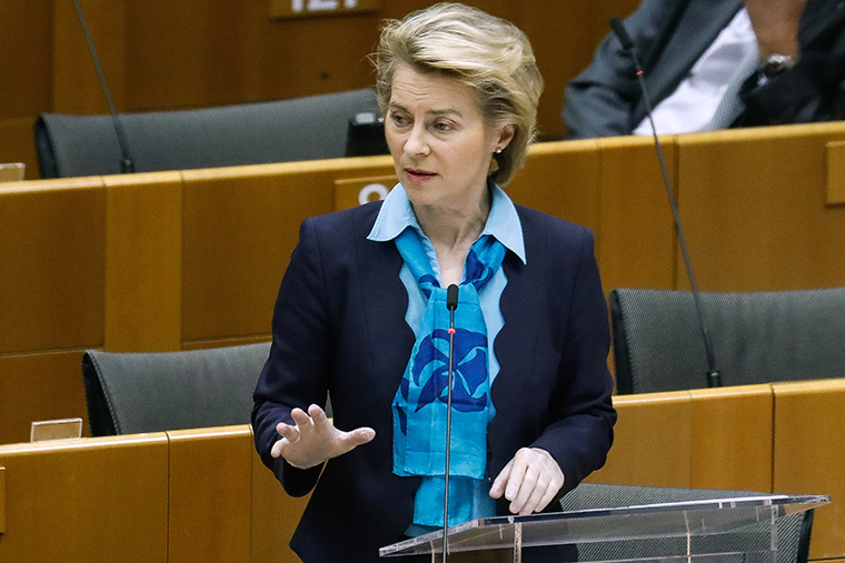 European Commission President Ursula von der Leyen speaks during a plenary session of the European Parliament in Brussels on Wednesday, May 13.