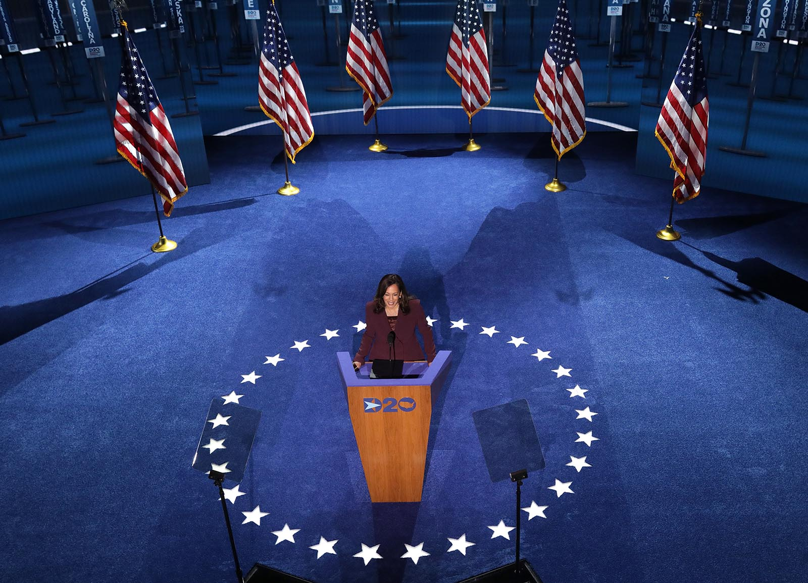 Sen. Kamala Harris speaks at the Democratic National Convention on Wednesday, August 19.