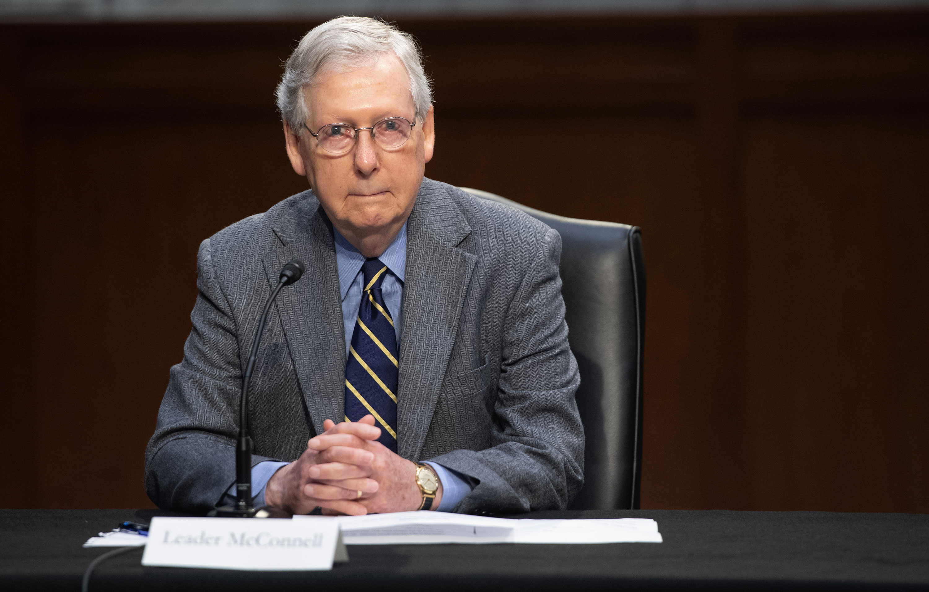 US Senate Majority Leader Mitch McConnell attends a meeting to discuss a potential economic bill in response to the coronavirus in Washington on March 20.
