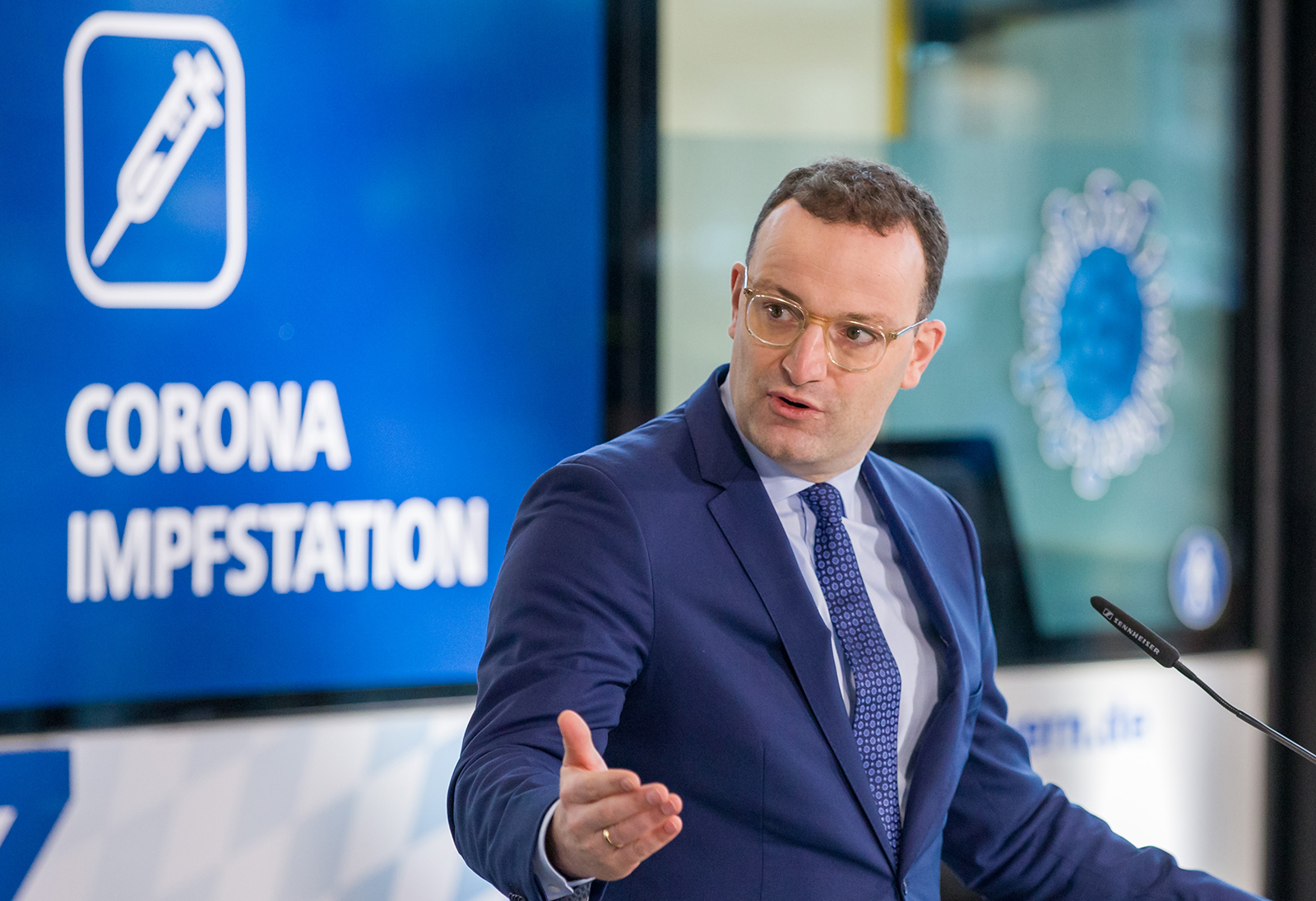 German Health Minister Jens Spahn speaks during a visit of the Corona Vaccination Center at the exhibition center in Nuremberg, Germany, on Dec. 11.