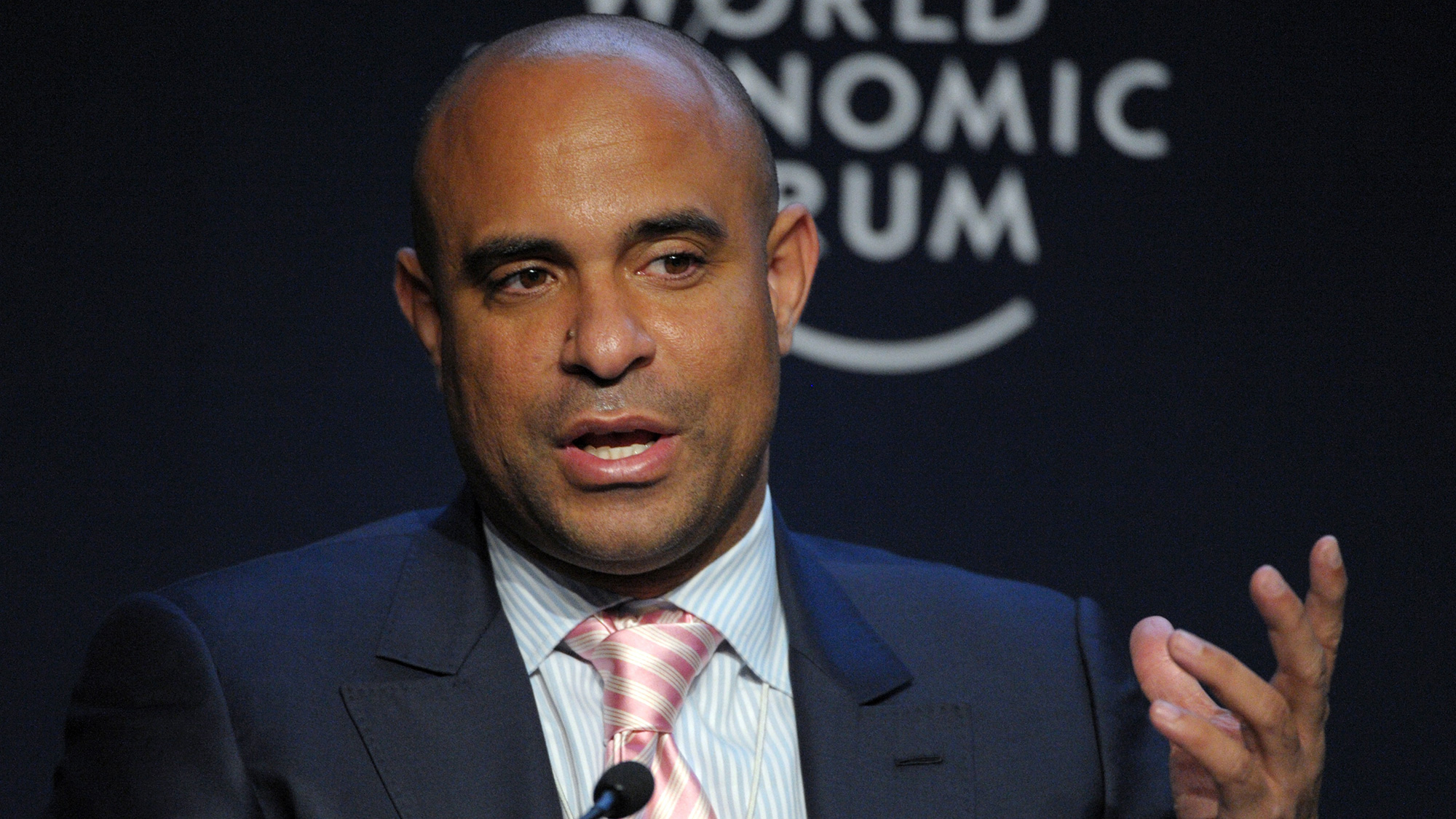Haitian Prime Minister Laurent Lamothe attends a league   astatine  The World Economic Forum successful  Davos connected  January 25, 2014.