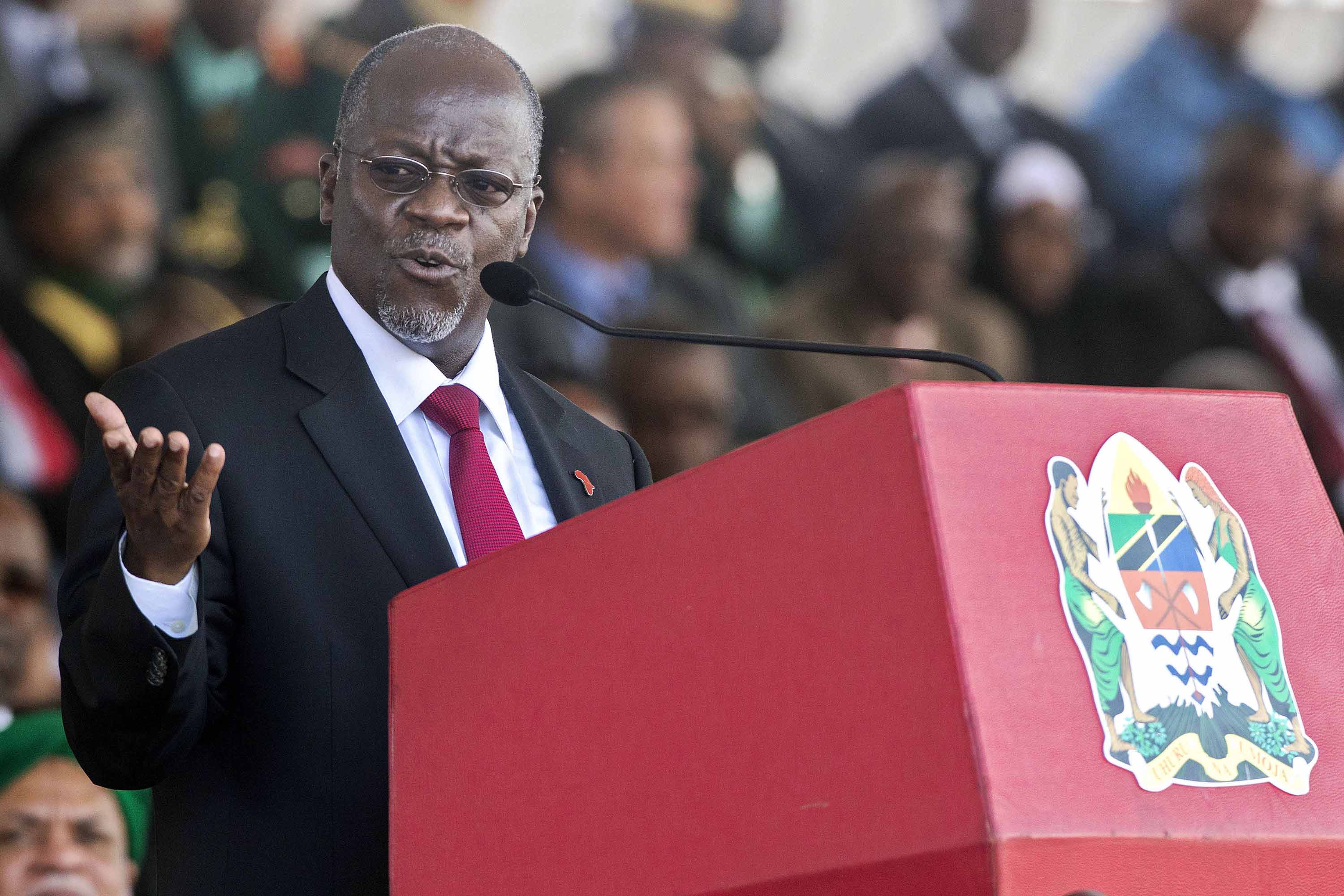 Tanzanian President John Magufuli is pictured delivering a speech in Dar es Salaam, Tanzania, in November 2015.