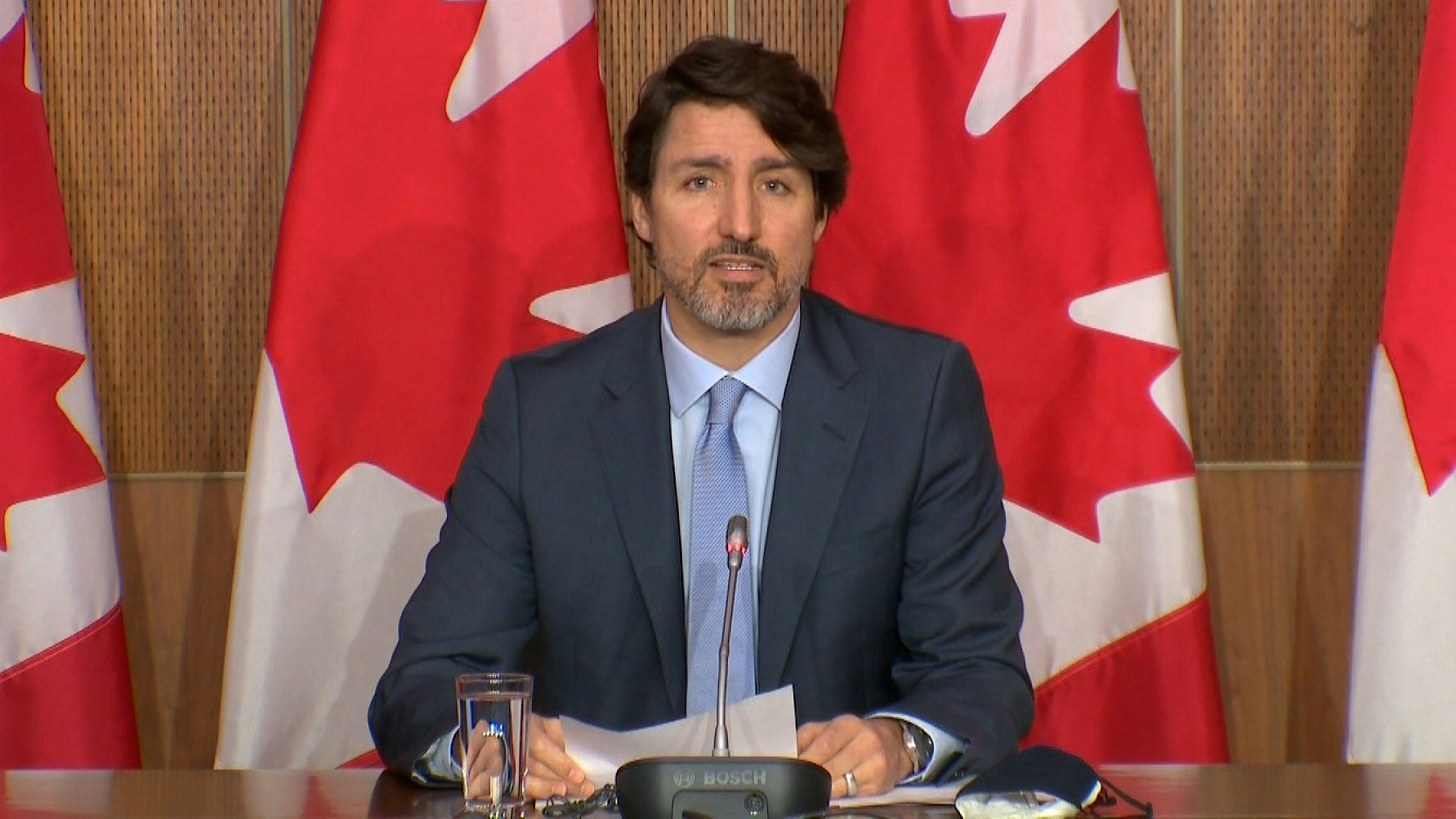 Canadian Prime Minister Justin Trudeau holds a news conference on Tuesday.