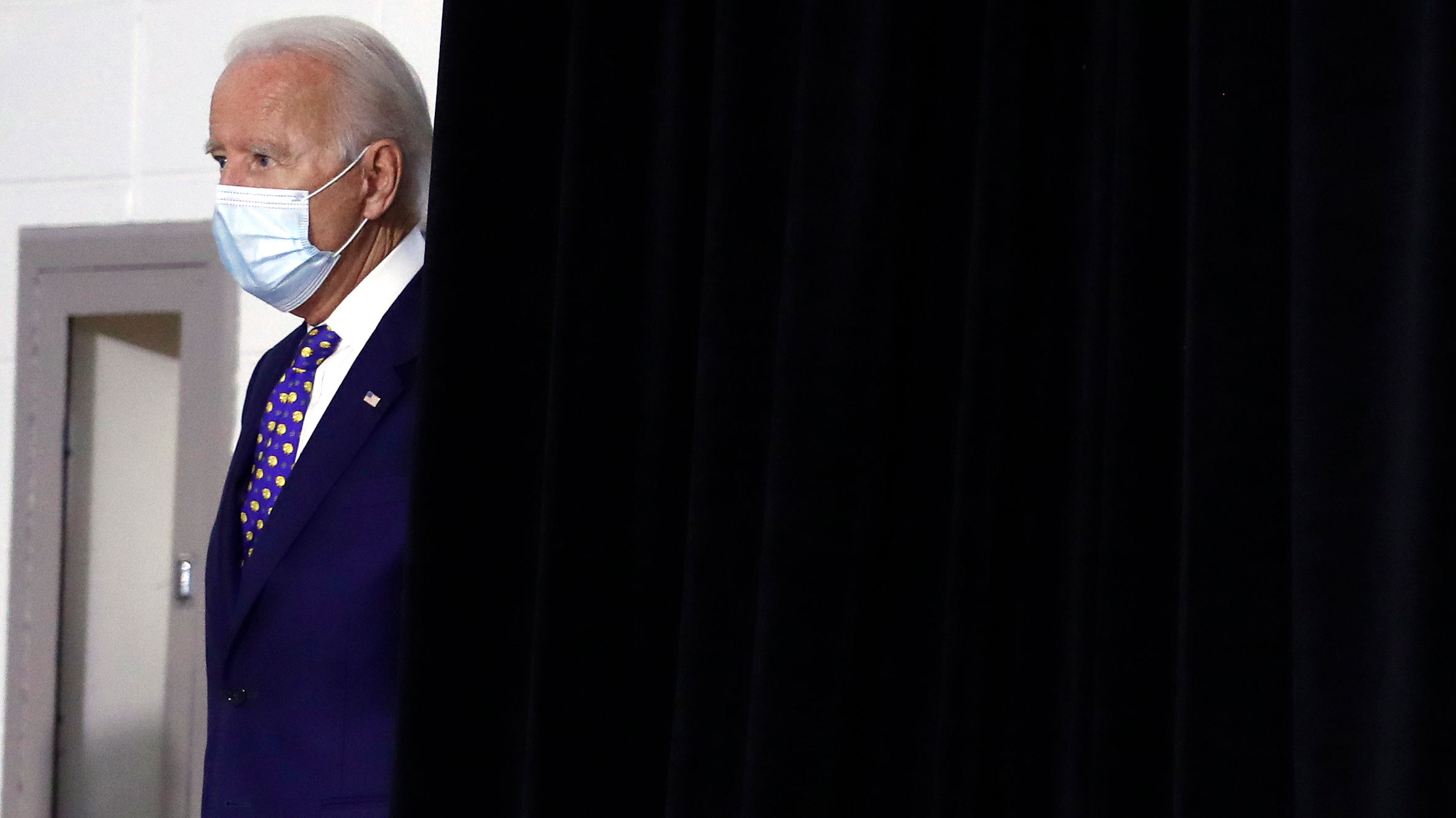 Joe Biden arrives at his campaign event in Wilmington, Delaware, on Tuesday.