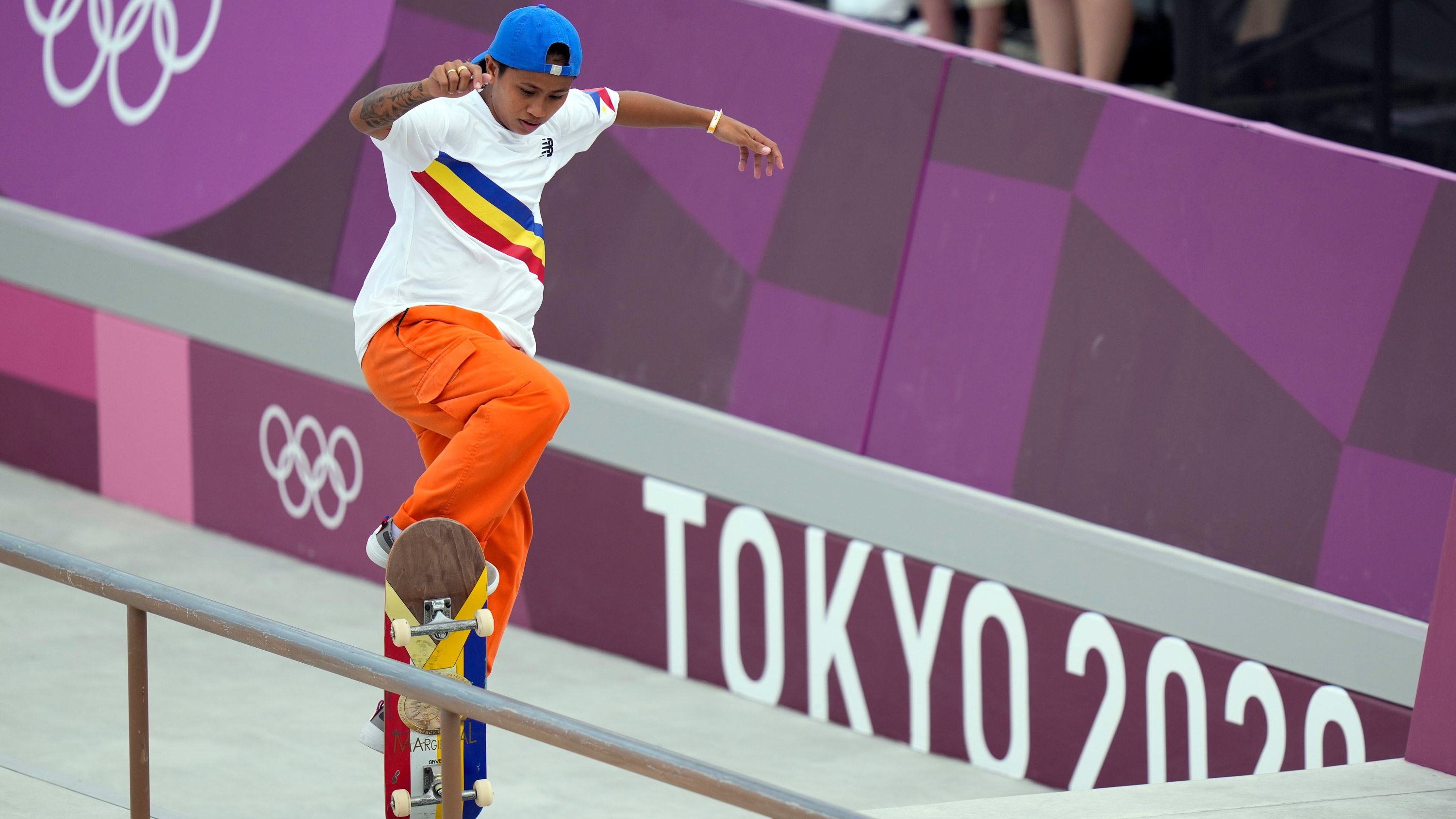 Margielyn Didal of the Philippines competes in the street skateboarding prelims on July 26.