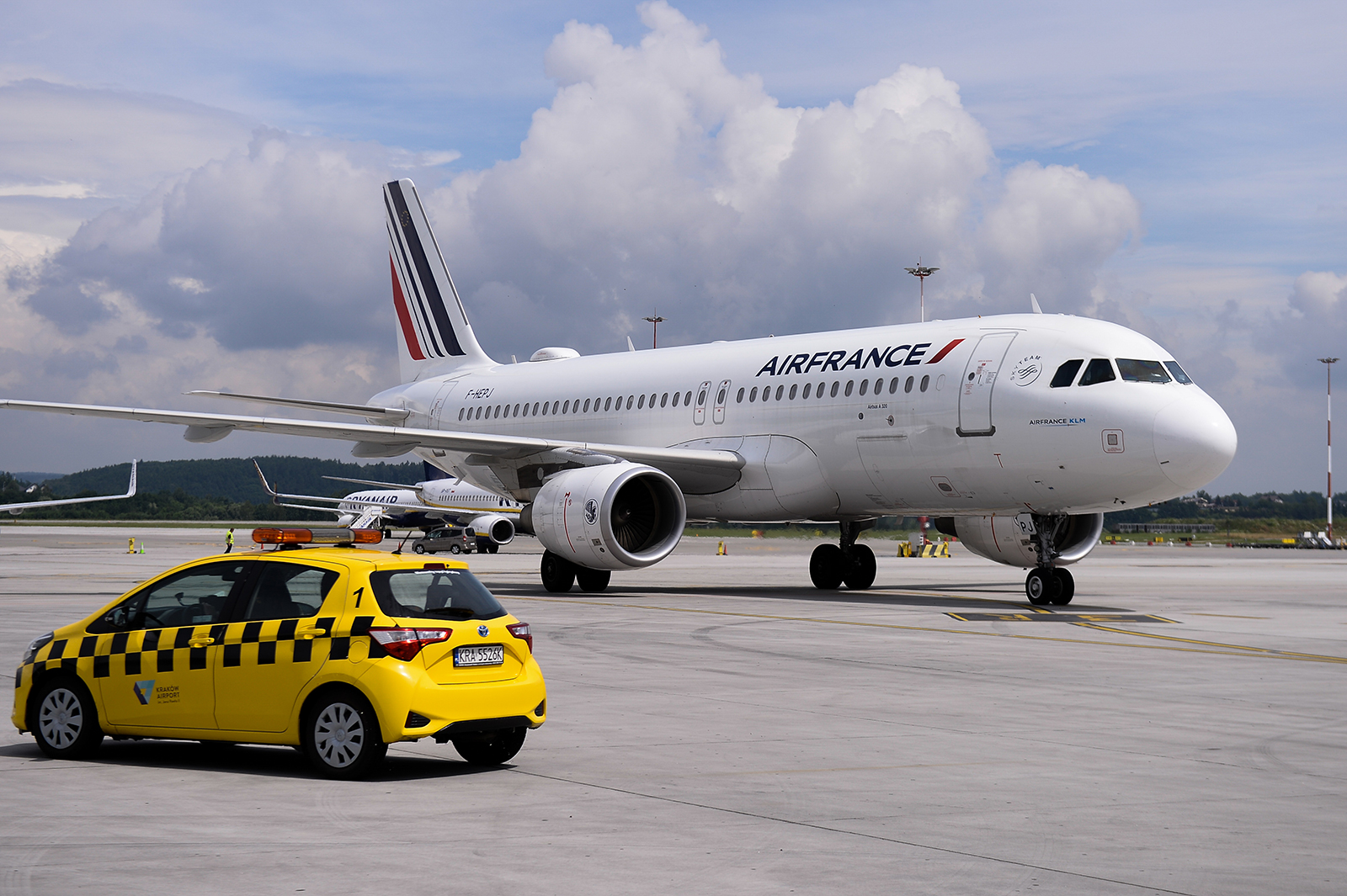 An Air France KLM Airbus A320 taxis at the John Paul II Krakow International Airport in Krakow, Poland on July 3.