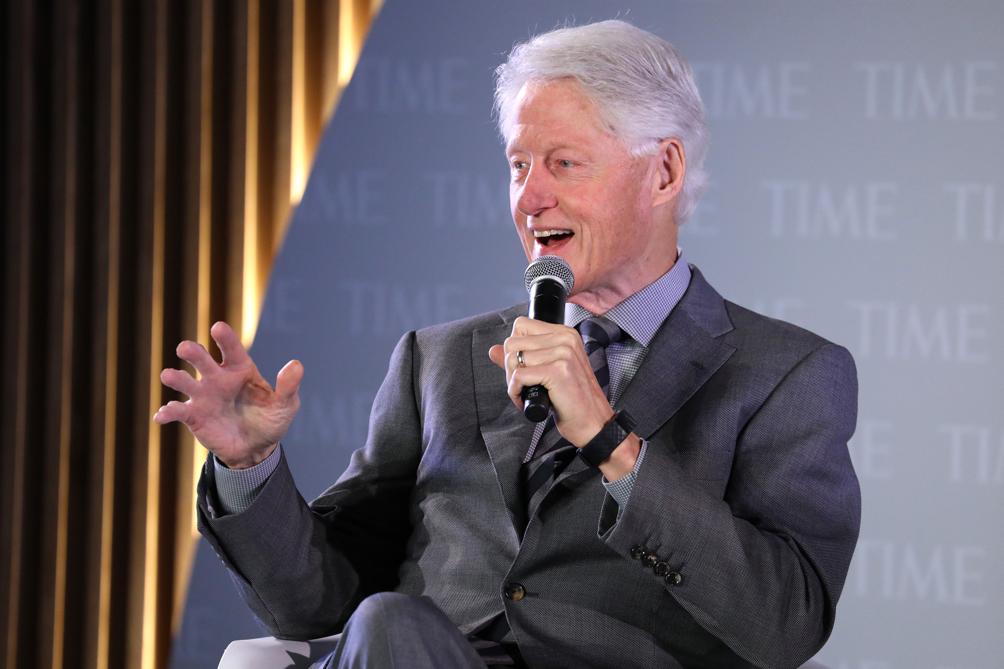 Former President Bill Clinton speaks during the TIME 100 Health Summit at Pier 17 on October 17, 2019 in New York City, New York.