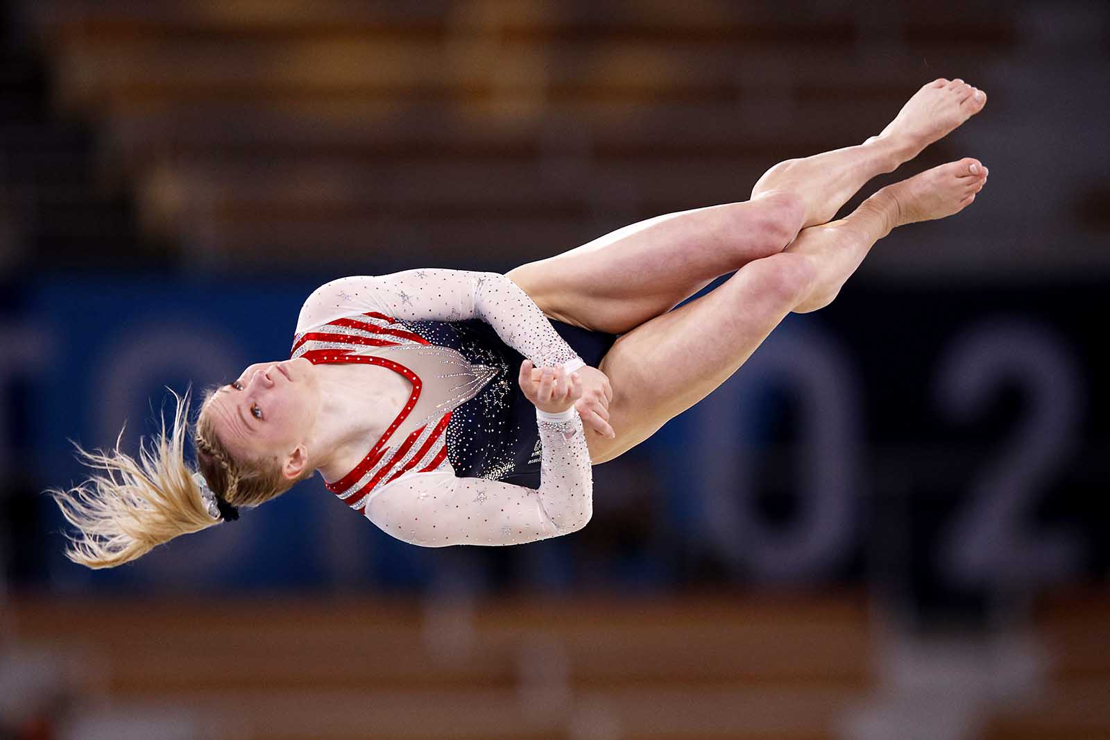 The US' Jade Carey competes during the women's floor exercise final on Monday.