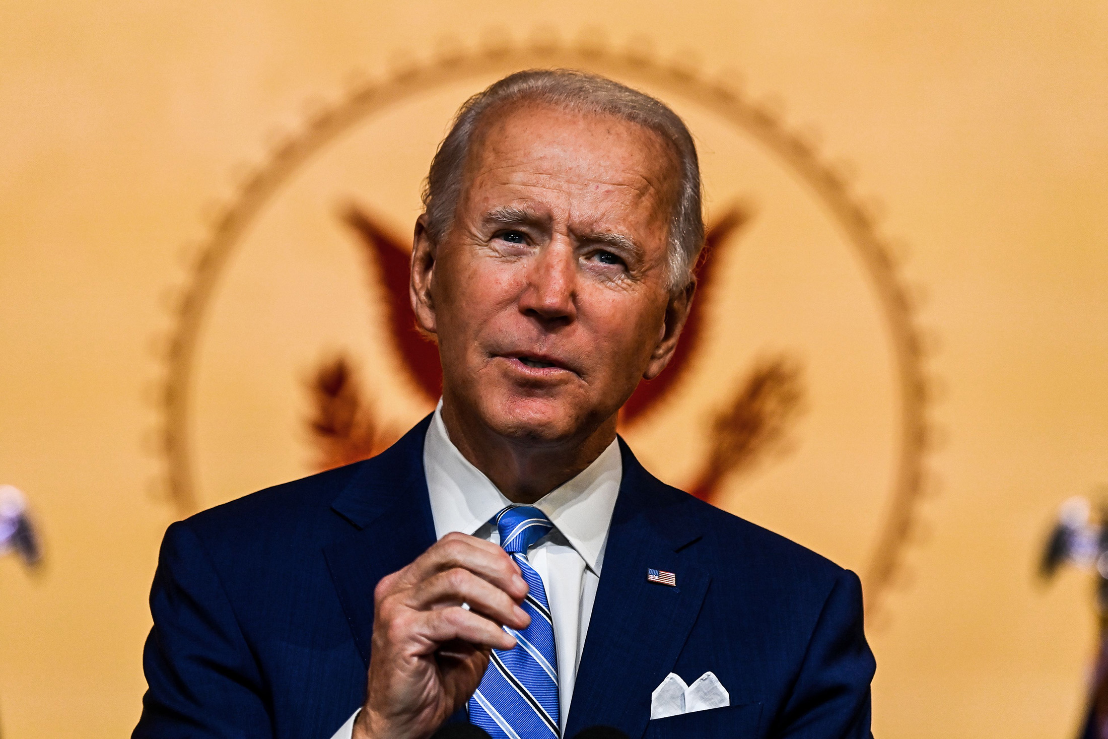 U.S. President-elect Joe Biden delivers a Thanksgiving address at the Queen Theatre in Wilmington, Delaware, on November 25.