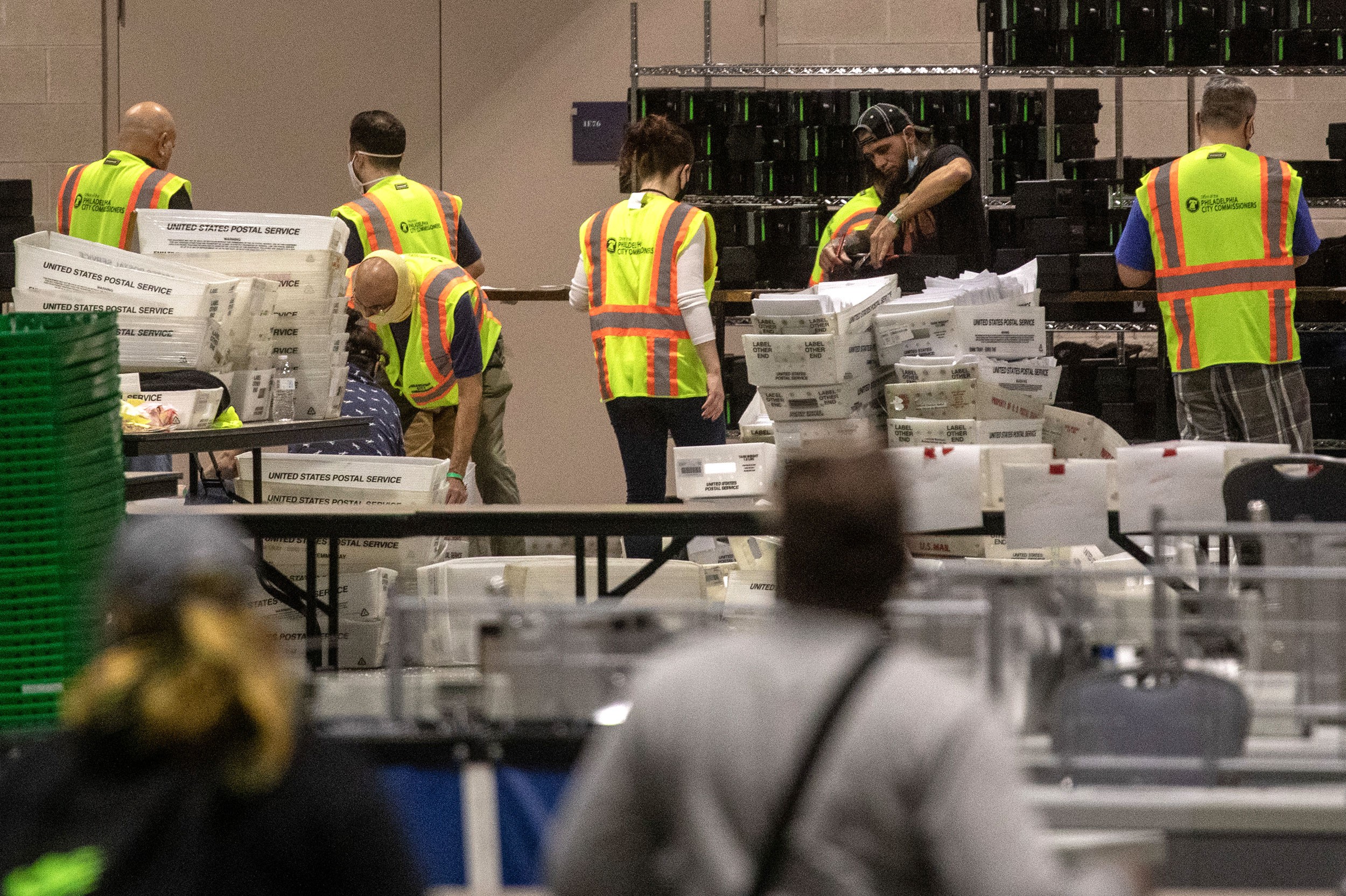 Election workers count ballots on November 6 in Philadelphia, Pennsylvania.
