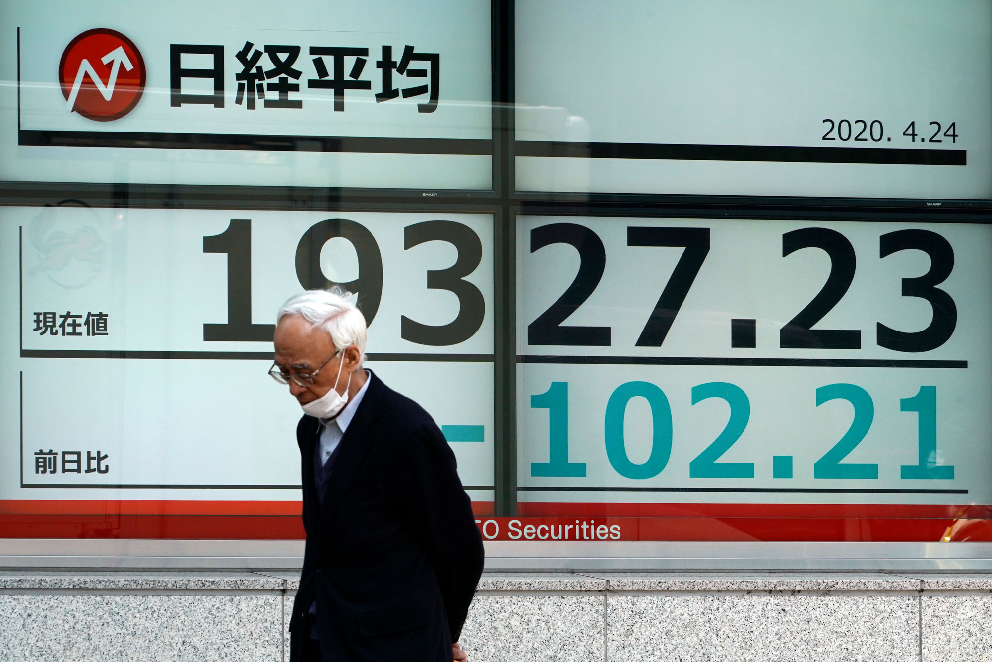 A man wearing a mask to help stop the spread of the new coronavirus walks past an electronic stock board showing Japan's Nikkei 225 index at a securities firm in Tokyo Friday, April 24.
