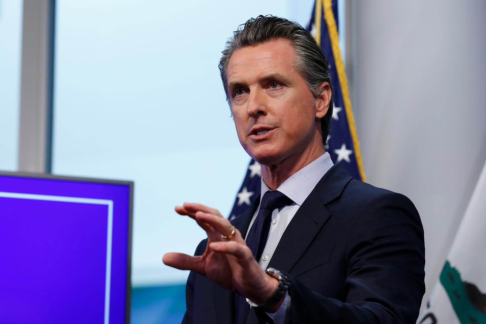 California Gov. Gavin Newsom, speaks during a news conference in Sacramento, California on April 14.
