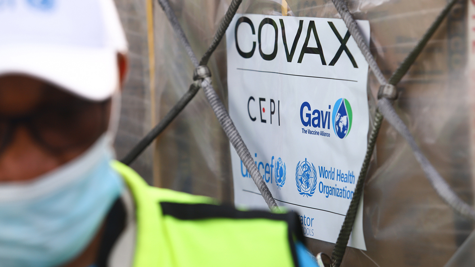 A shipment of Covid-19 vaccines through the COVAX global vaccination program is seen at the Kotoka International Airport in Accra, Ghana, on February 24.