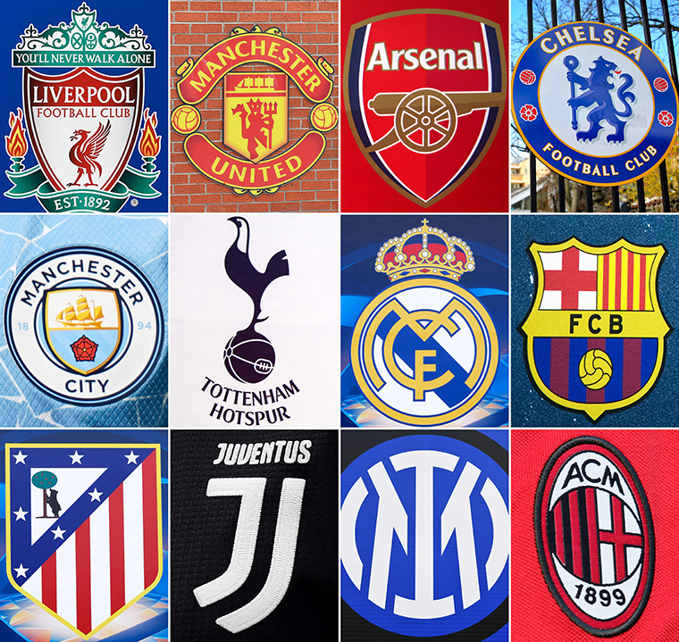 A combination of logos of the European football clubs involved in the European Super League.
