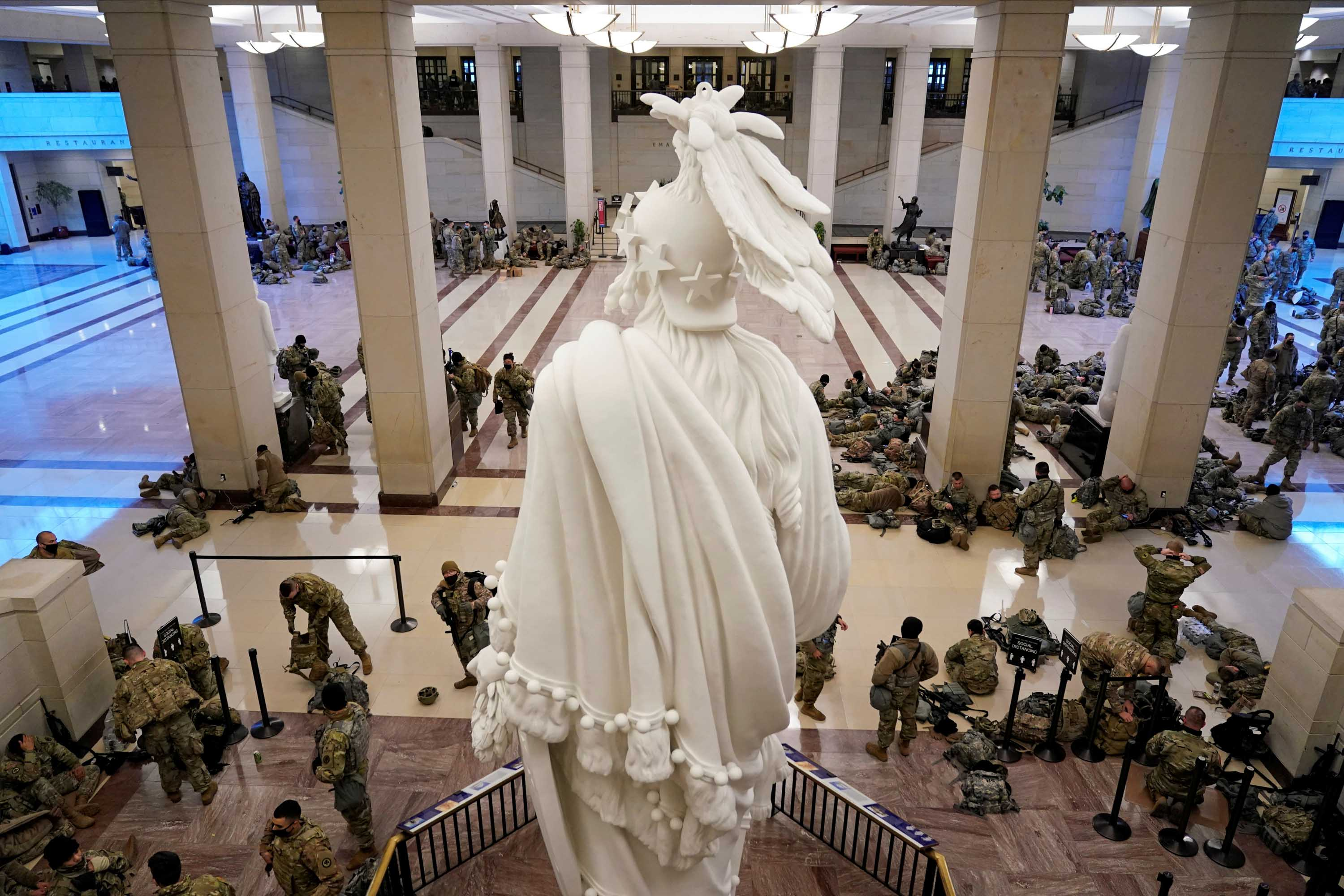 National Guard members assemble in the Capitol Visitor's Center on January 13.