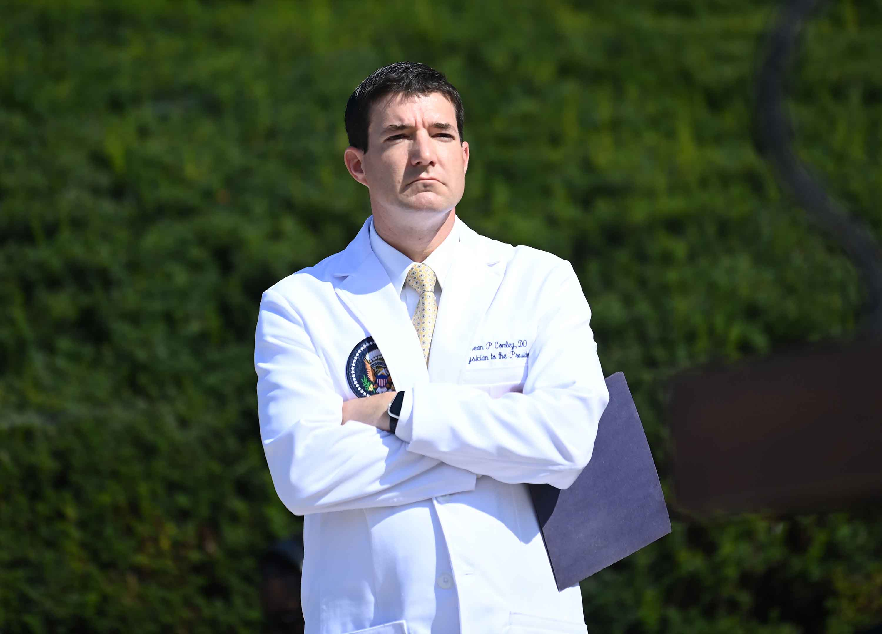 Dr. Sean Conley waits to answer questions during an update on the condition of then-President Trump, on October 4, 2020, at Walter Reed Medical Center in Bethesda, Maryland.