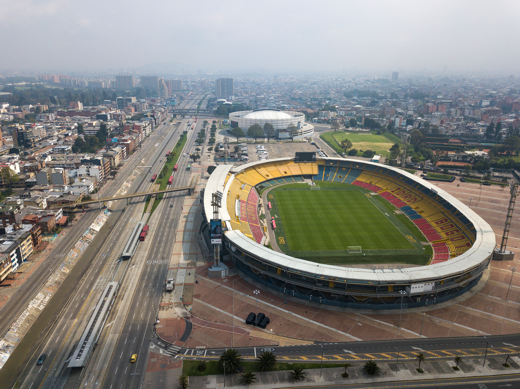 The usually busy avenue running along Nemesio Camacho stadium is empty in Bogota, Colombia, on Friday.