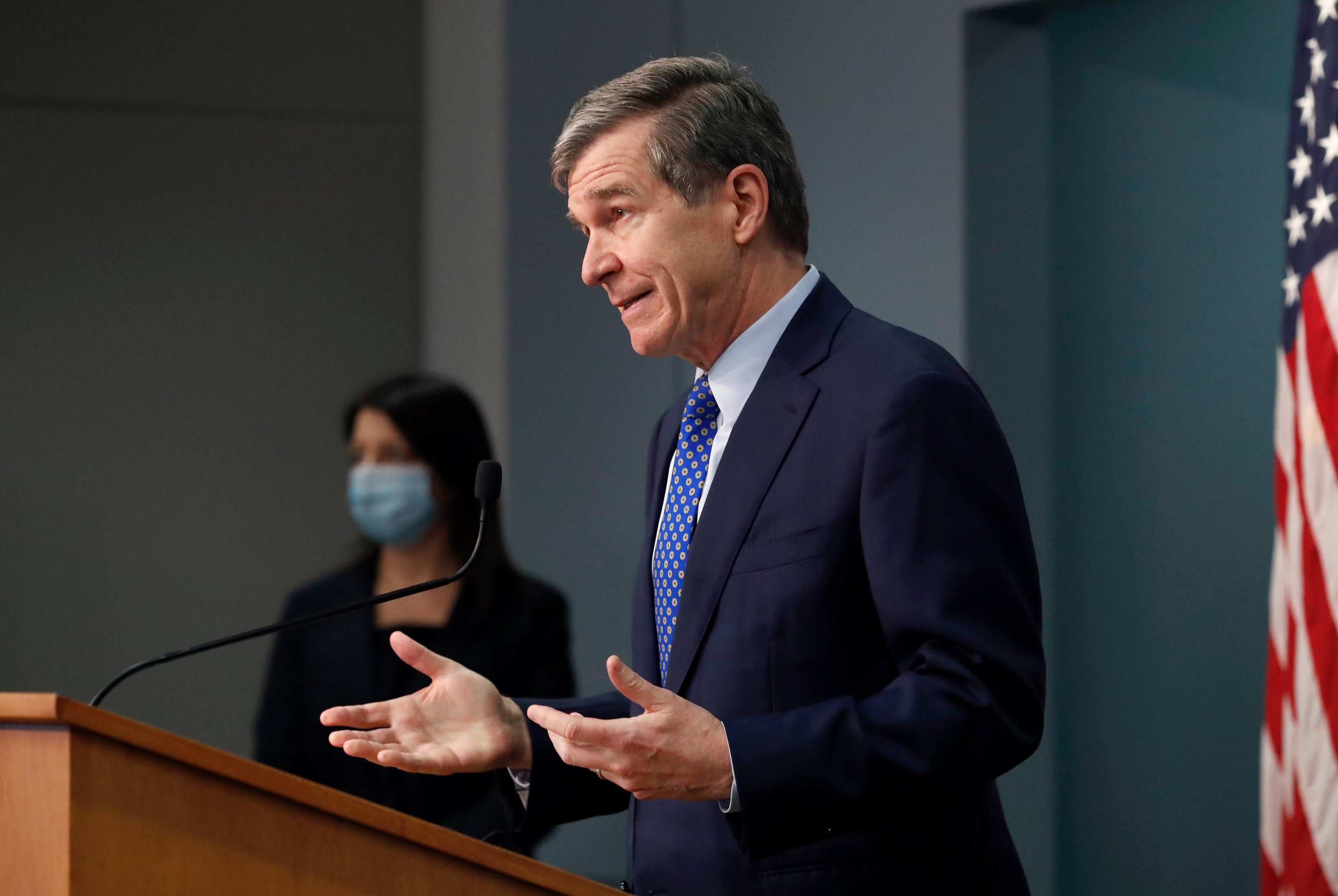 North Carolina Gov. Roy Cooper speaks during a briefing at the Emergency Operations Center in Raleigh, North Carolina, on February 24.