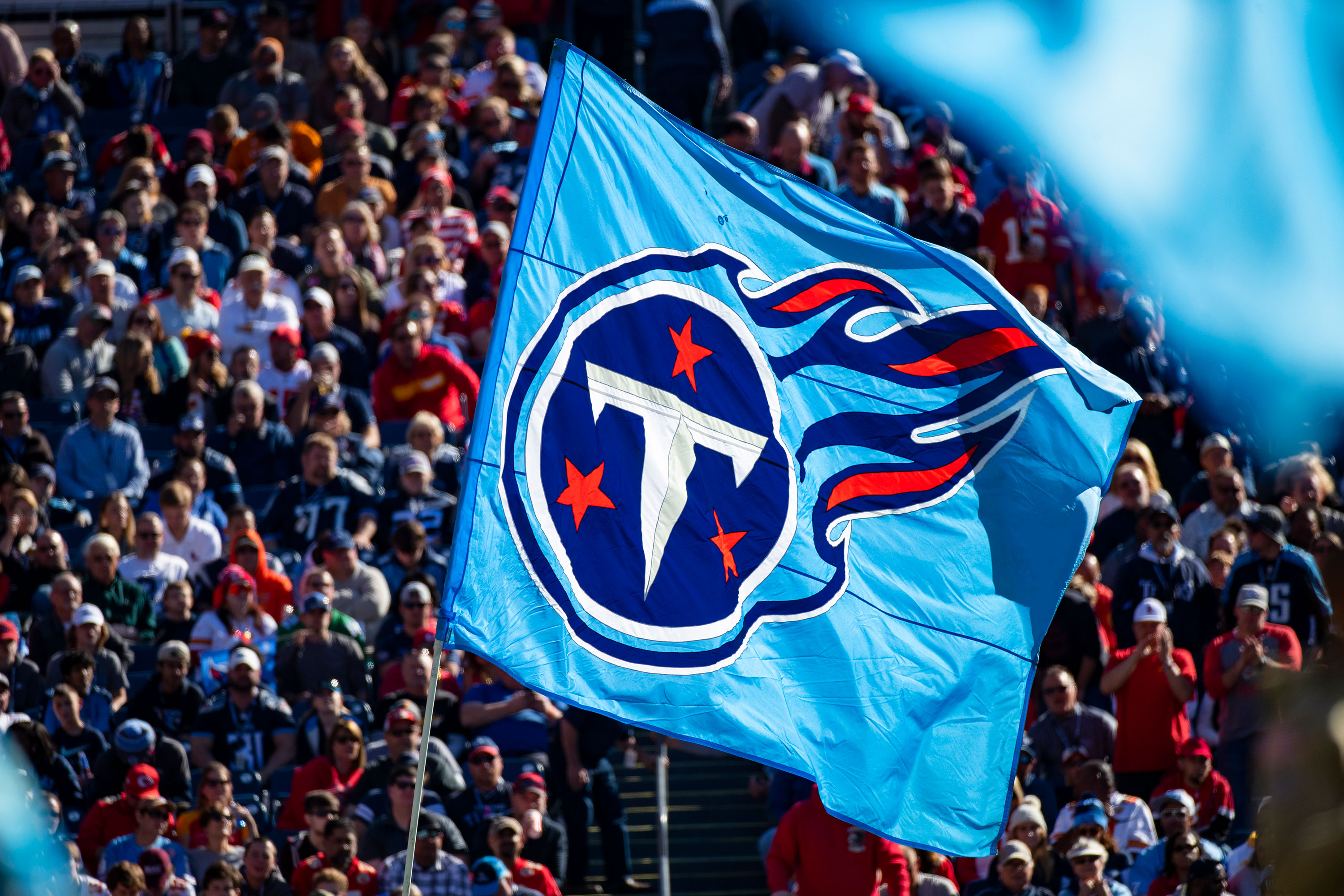 The Tennessee Titans flag is seen during a game in November 2019 in Nashville, Tennessee.