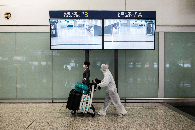 A passenger arrives at Hong Kong's international airport on March 19.