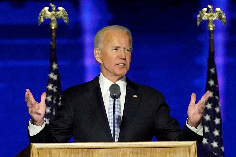 President-elect Joe Biden speaks, Saturday, Nov. 7, 2020, in Wilmington, Del. (AP Photo/Andrew Harnik, Pool)