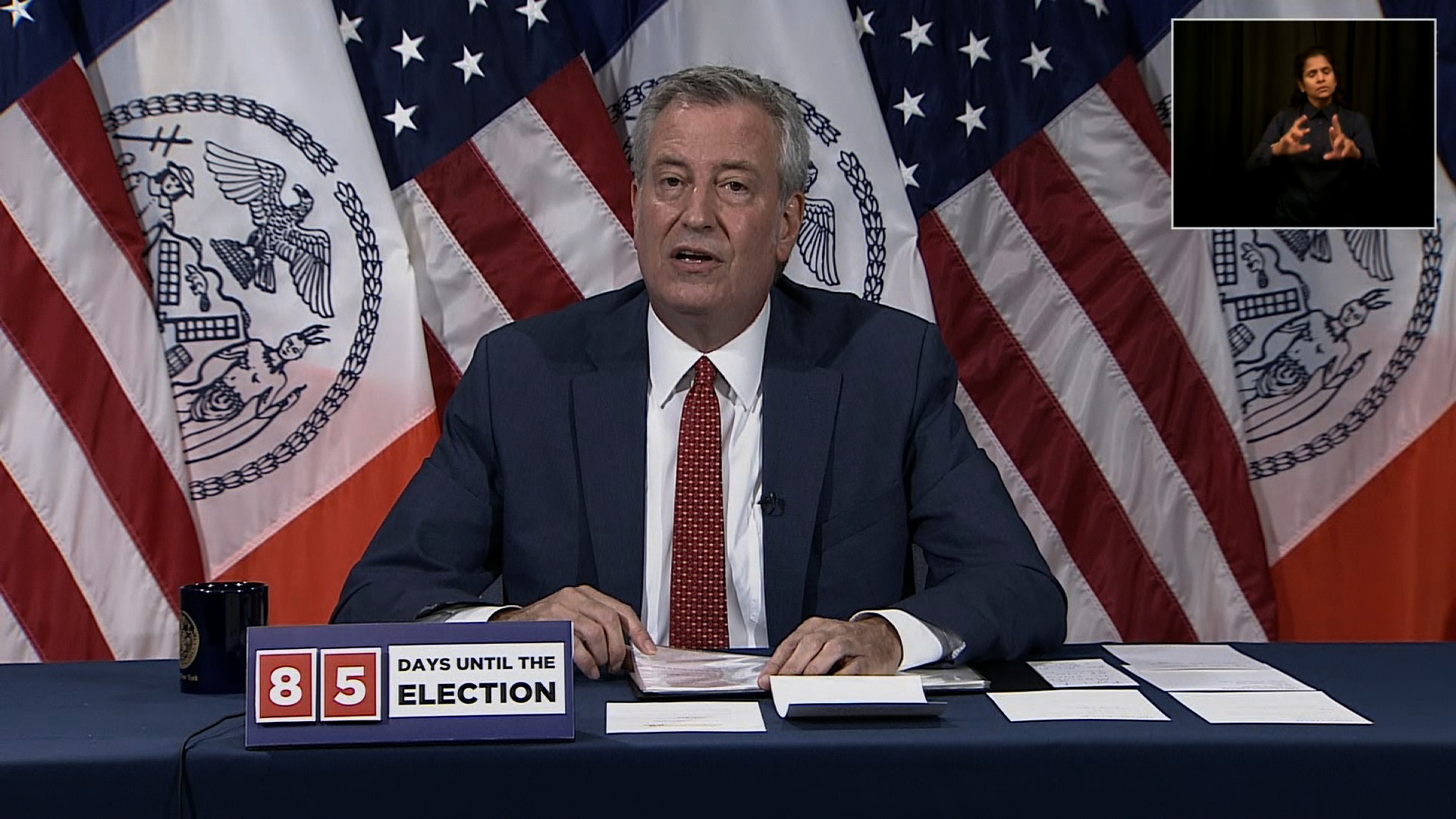 New York City Mayor Bill de Blasio speaks during a press conference in New York City on August 10.
