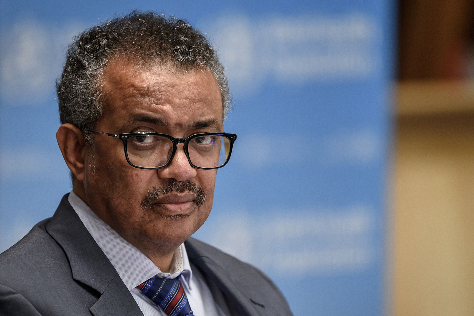 WHO Director-General Tedros Adhanom Ghebreyesus attends a press conference in Geneva on July 3.