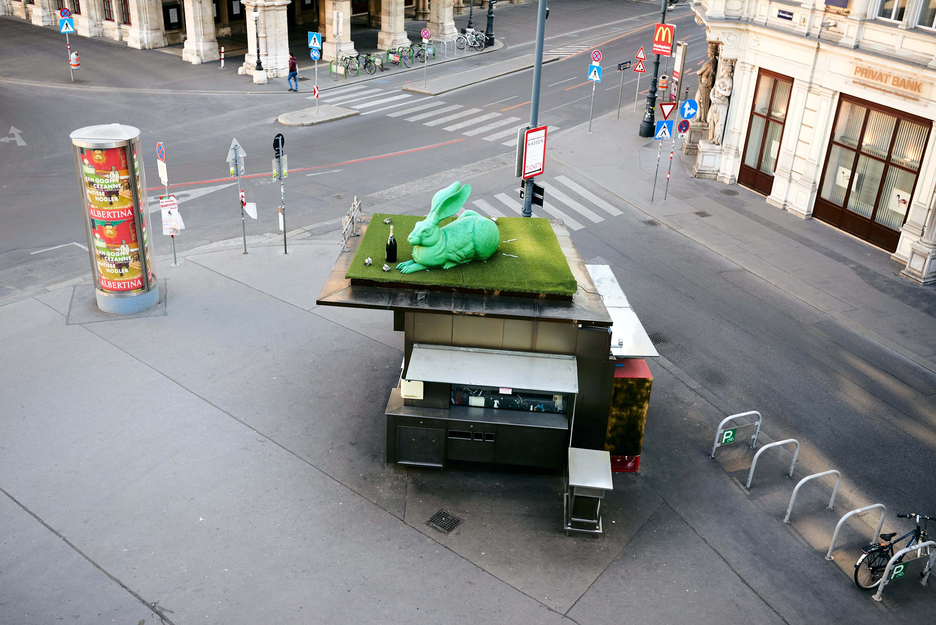 A closed street food stall is pictured in Vienna, Austria on April 2.