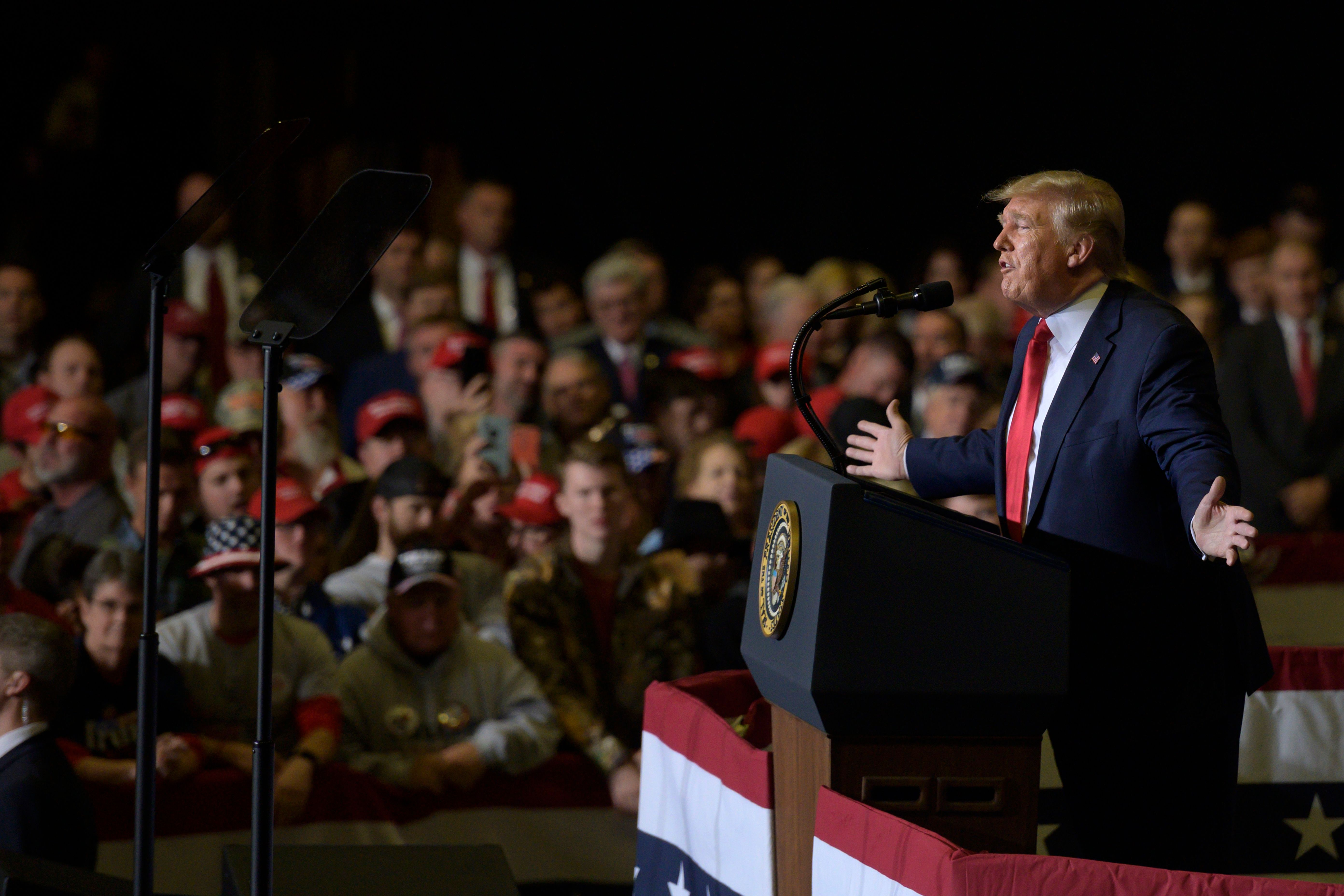 President Trump delivers remarks during a campaign rally in Tupelo, Mississippi, on Nov. 1.